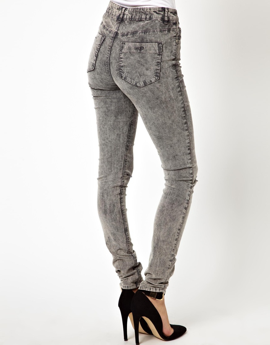 Asos Ridley High Waist Ultra Skinny Jeans In Grey Acid Wash Cord