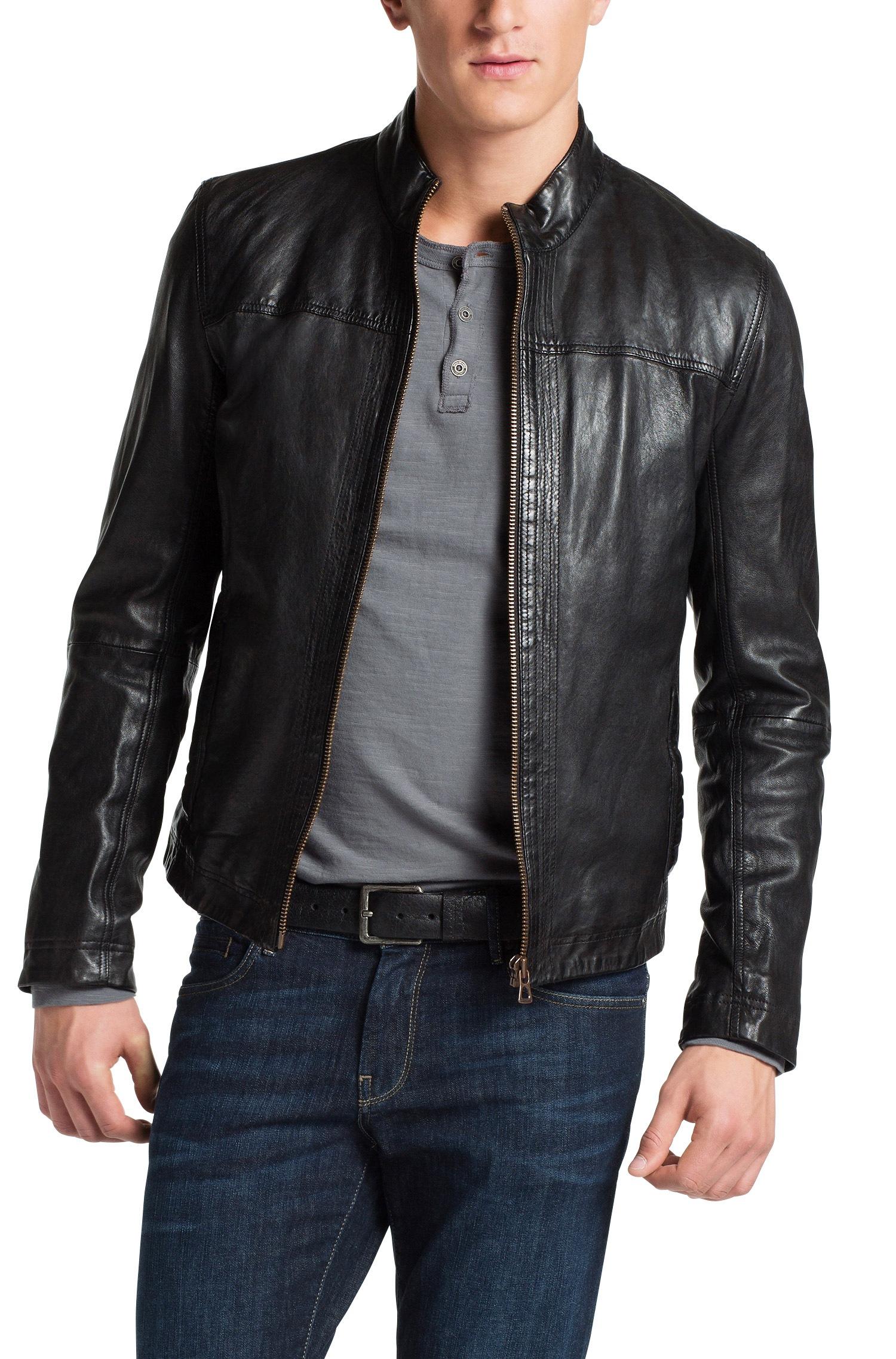boss orange sheepskin leather jacket 39 jips5 39 in black for. Black Bedroom Furniture Sets. Home Design Ideas