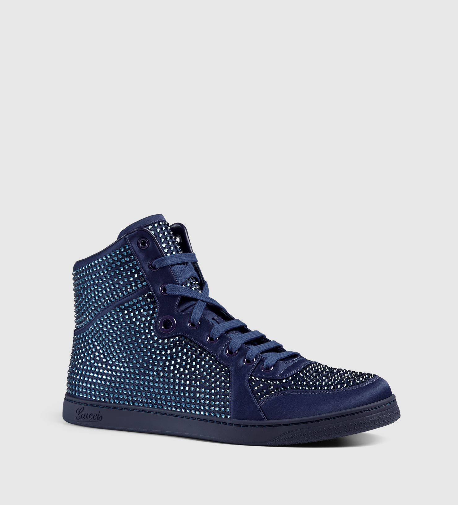 Lyst Gucci High Top Sneaker With Crystal Studs In Blue
