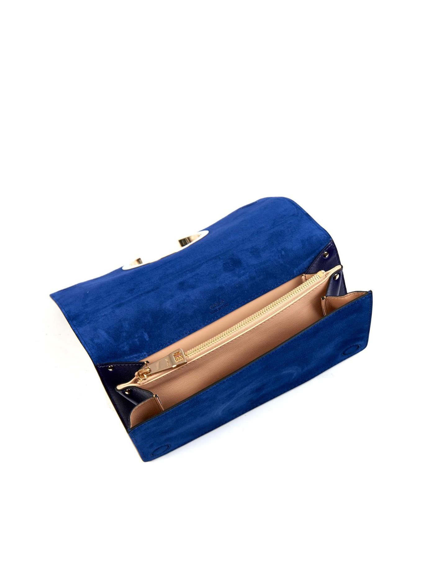 fake chloe handbag - Chlo�� Gabrielle Leather And Suede Clutch in Blue   Lyst