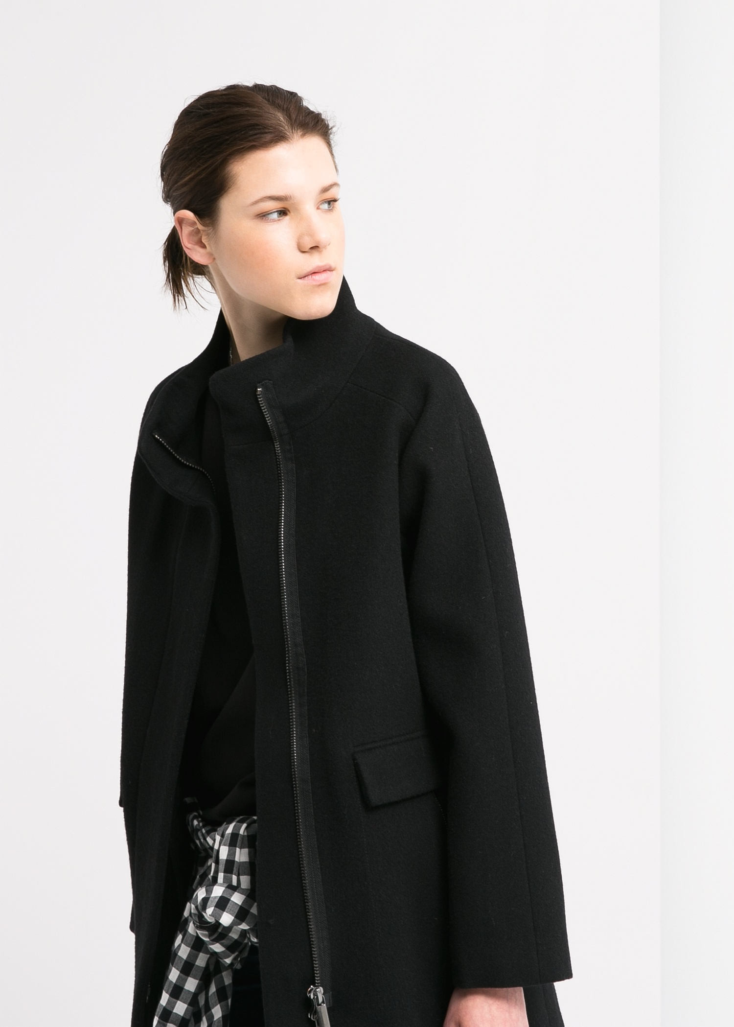 Mango Cotton Wool-Blend Coat in Black | Lyst