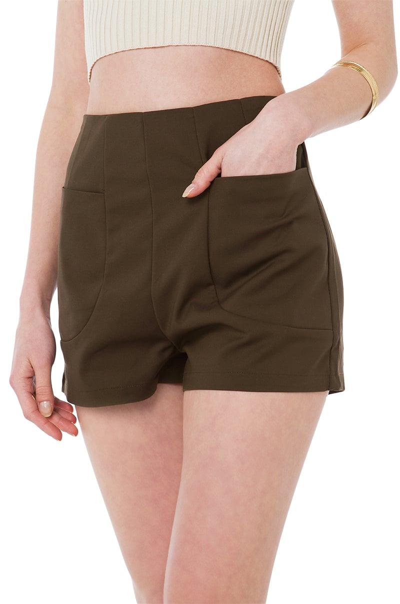 Akira All Day Thyme Dark Green High Waisted Shorts in Green | Lyst