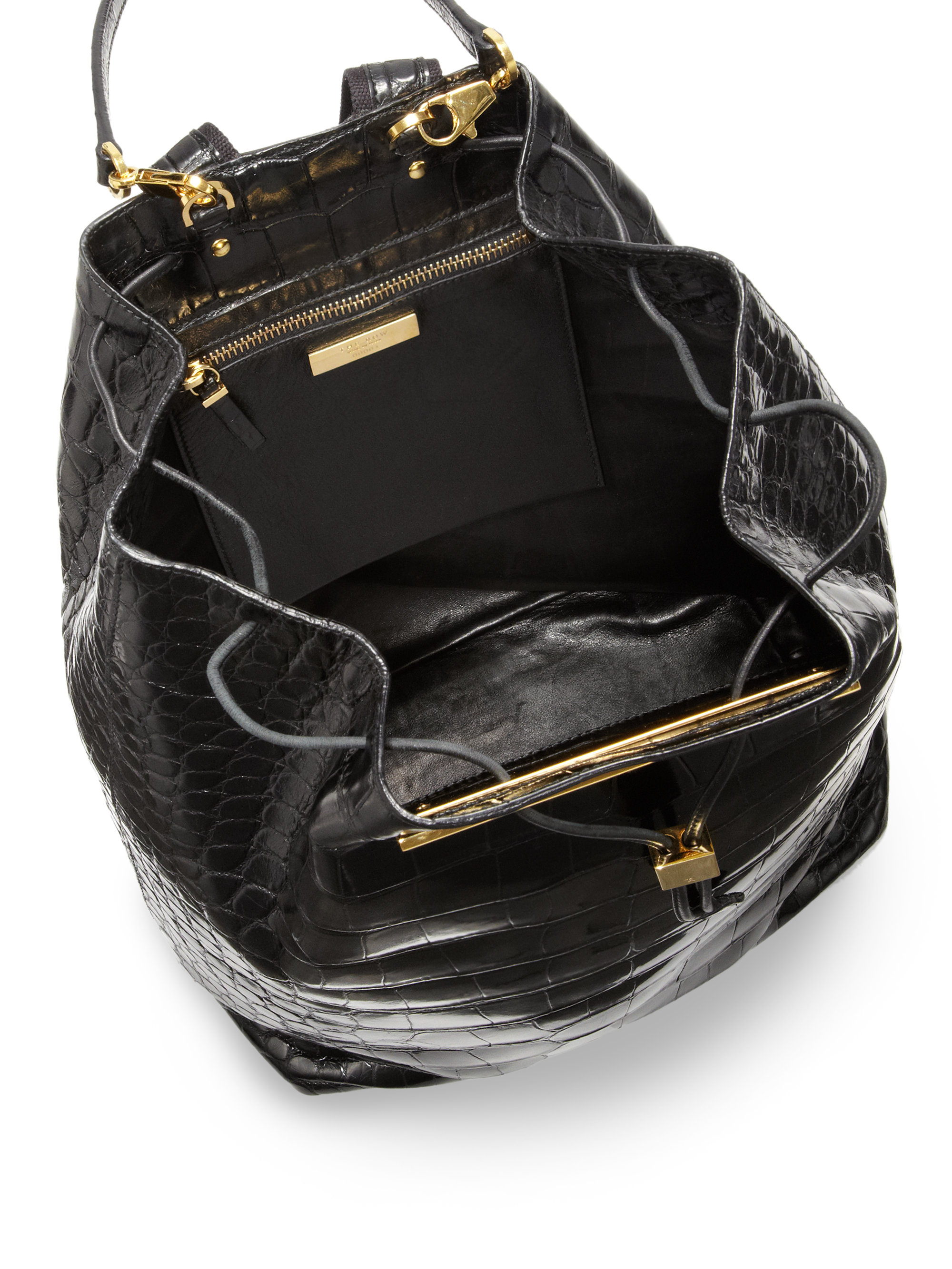 5e40558a824d36 The Row Crocodile Drawstring Backpack in Black - Lyst