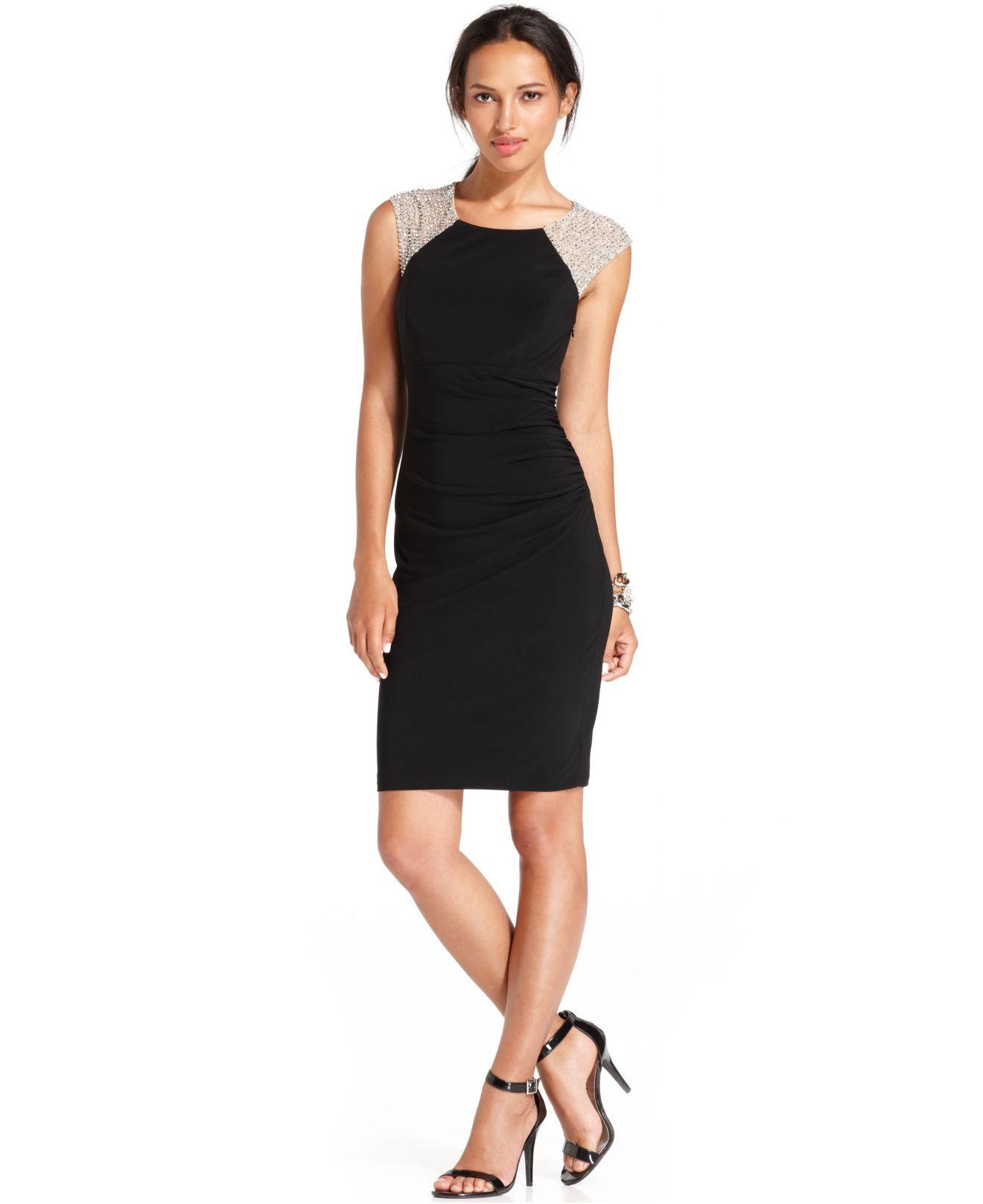 Xscape Sleeveless Studded Blouson Dress in Beige (Black)   Lyst