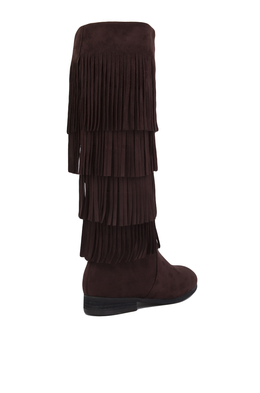 Akira black label 4 Layer Fringe Boots - Brown in Brown | Lyst