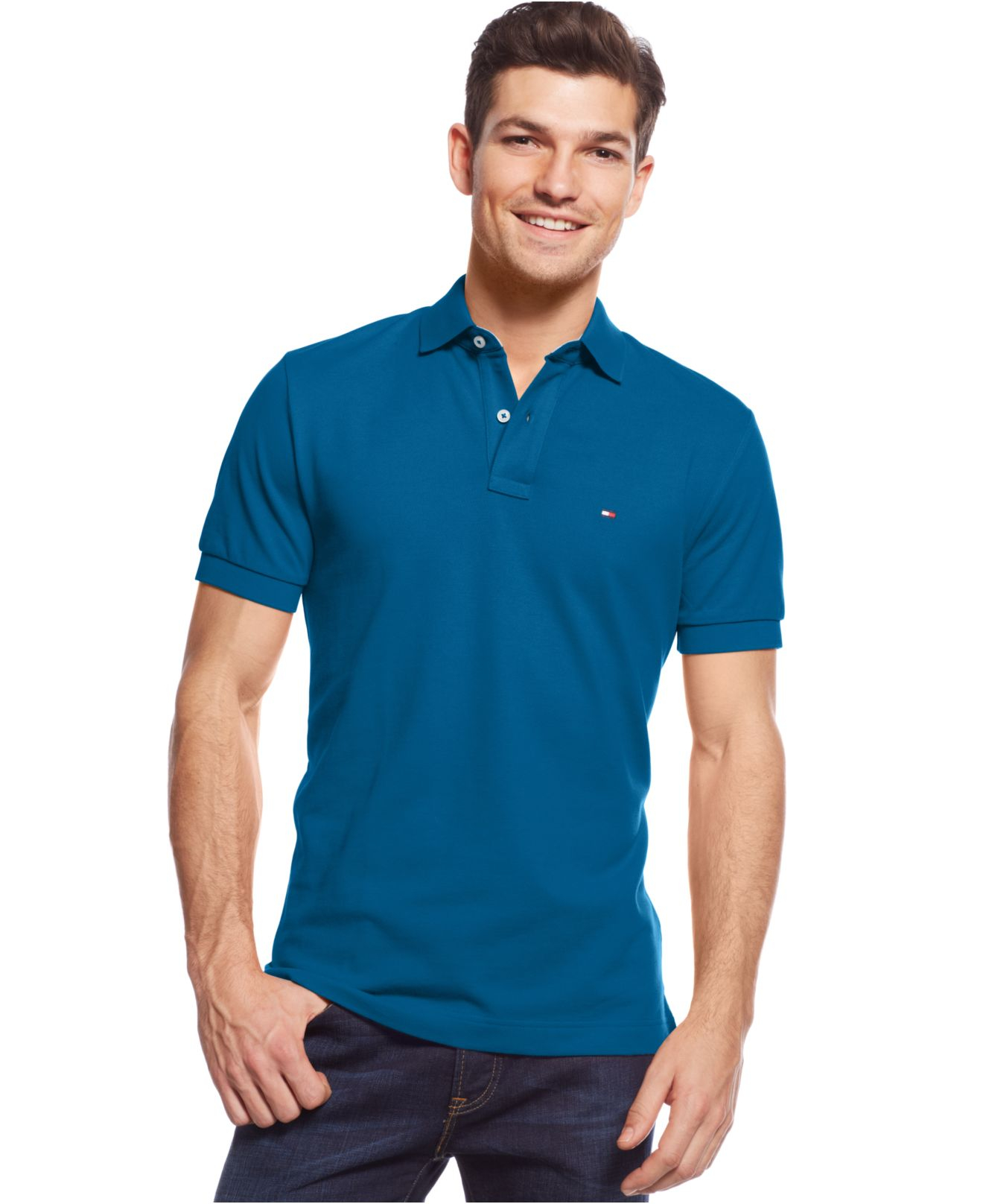 5846dcb5 Tommy Hilfiger Custom-fit Ivy Polo in Blue for Men - Lyst