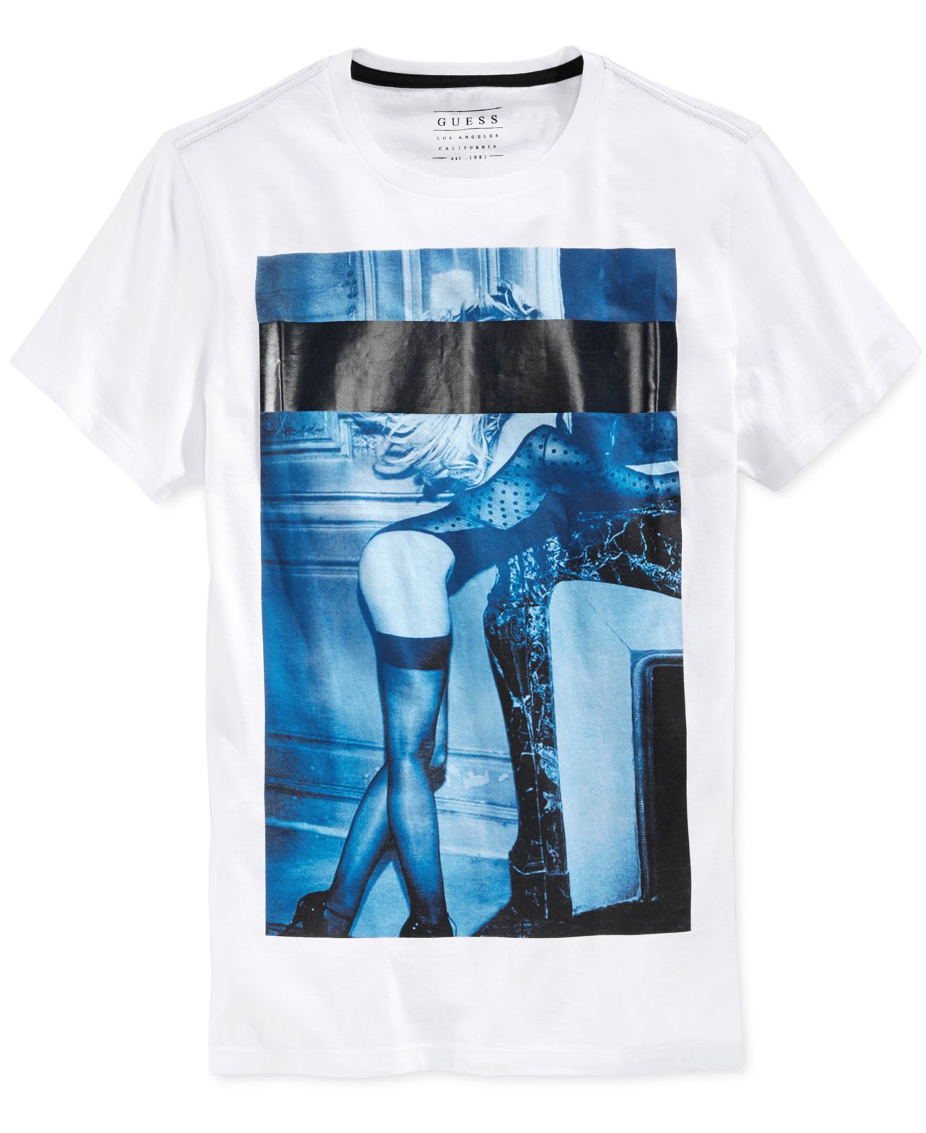 Lyst Guess Mens Censored Girl Graphic Print T Shirt In White For Men