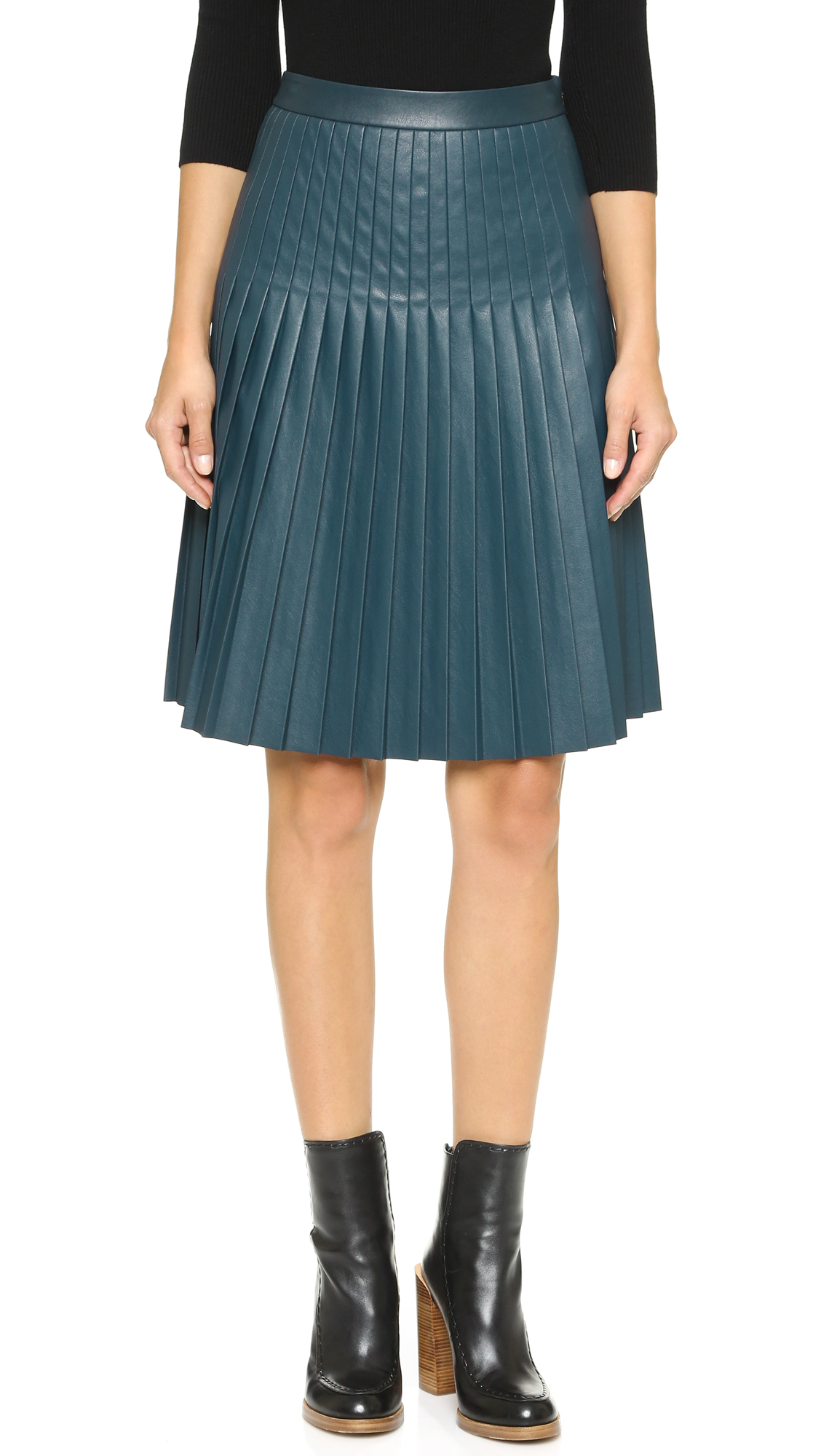 f470c0a60e Rebecca Taylor Faux Leather Pleated Skirt - Teal in Blue - Lyst