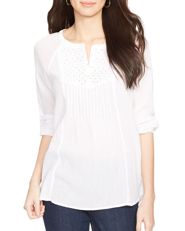 6e8fcf1b320b09 Ralph Lauren Lauren Embroidered Bib Cotton Top in White - Lyst