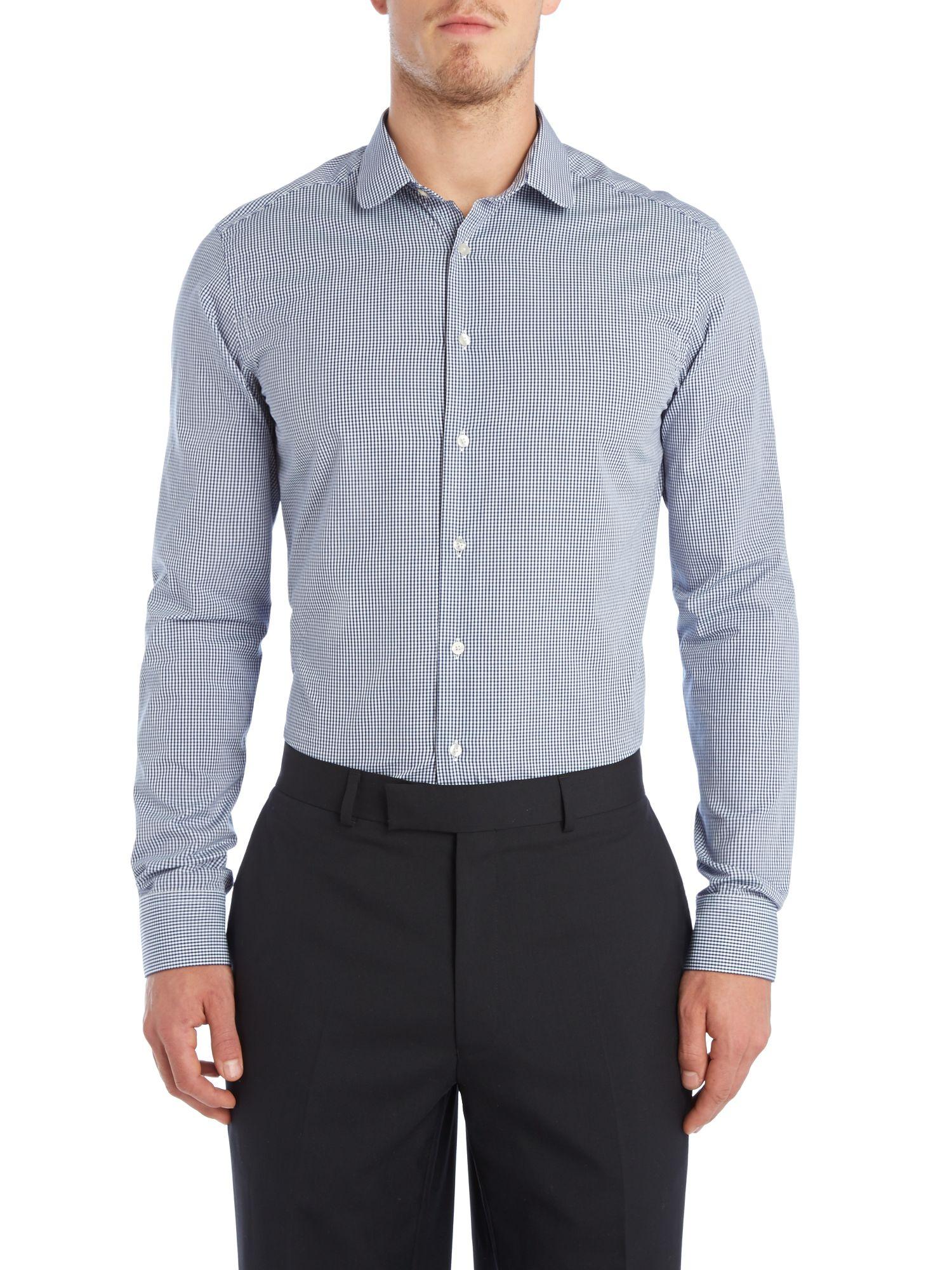Simon Carter Penny Gingham Slim Fit Shirt In Blue For Men
