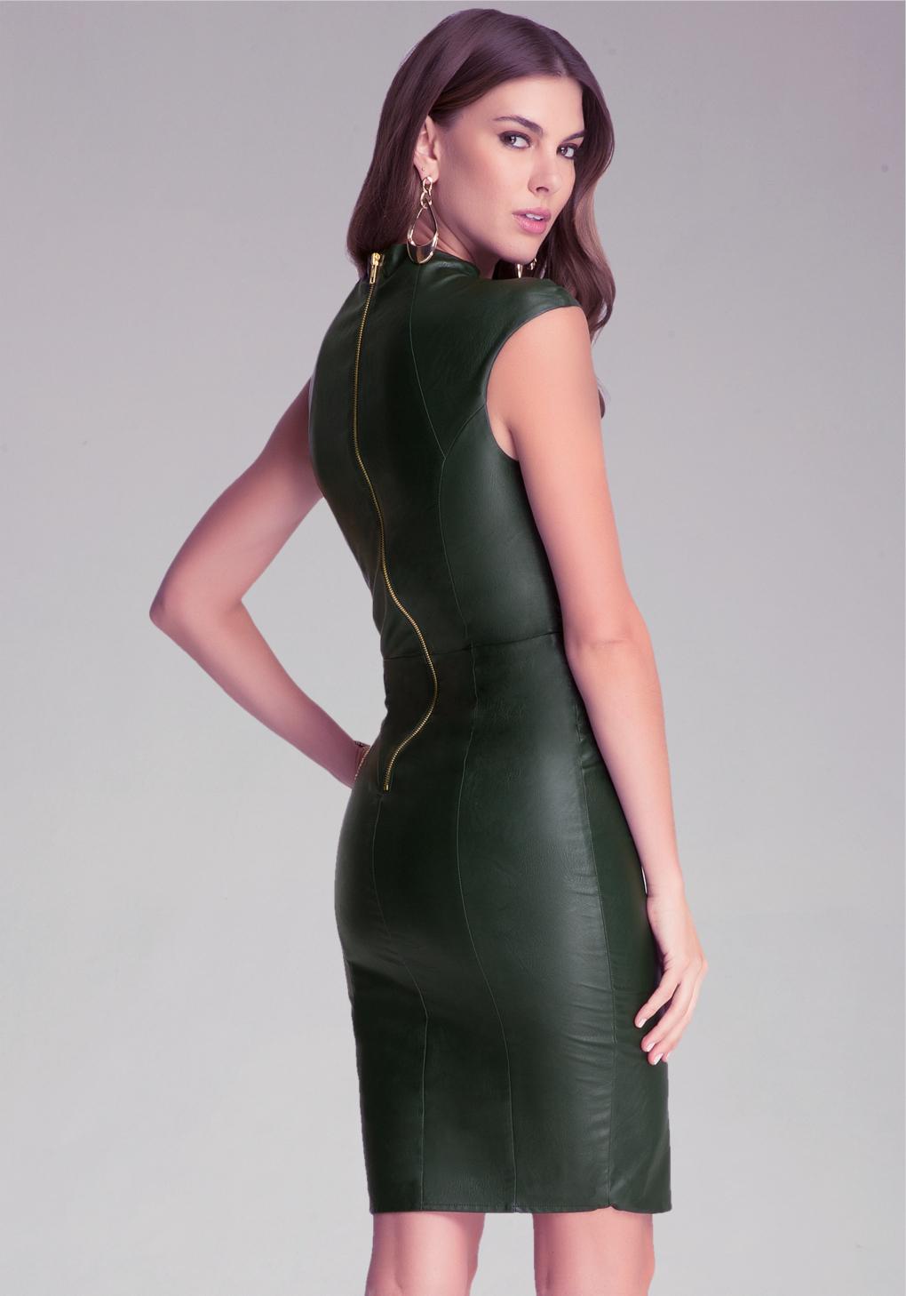 Bebe Faux Leather Midi Dress In Green Lyst