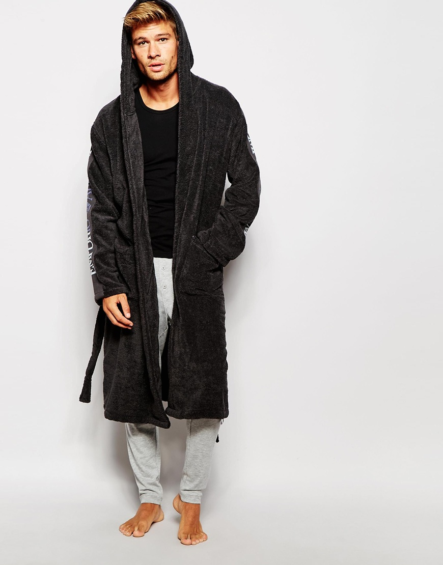 Emporio Armani Logo Dressing Gown in Gray for Men - Lyst