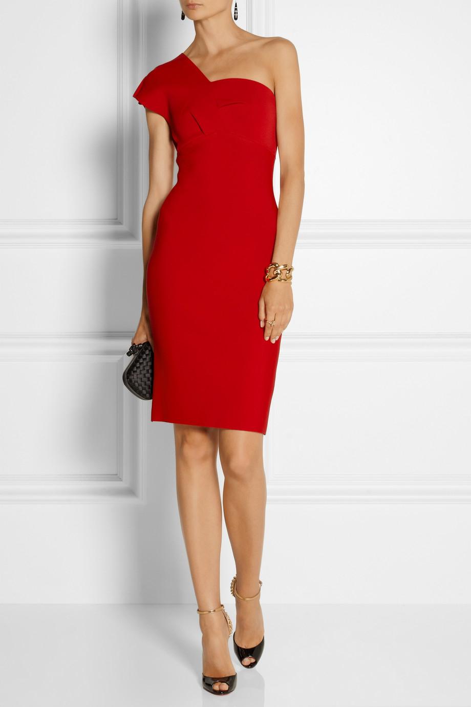 afd949a49e8 Lyst Roland Mouret Maniola One Shoulder Stretch Jersey Dress In Red