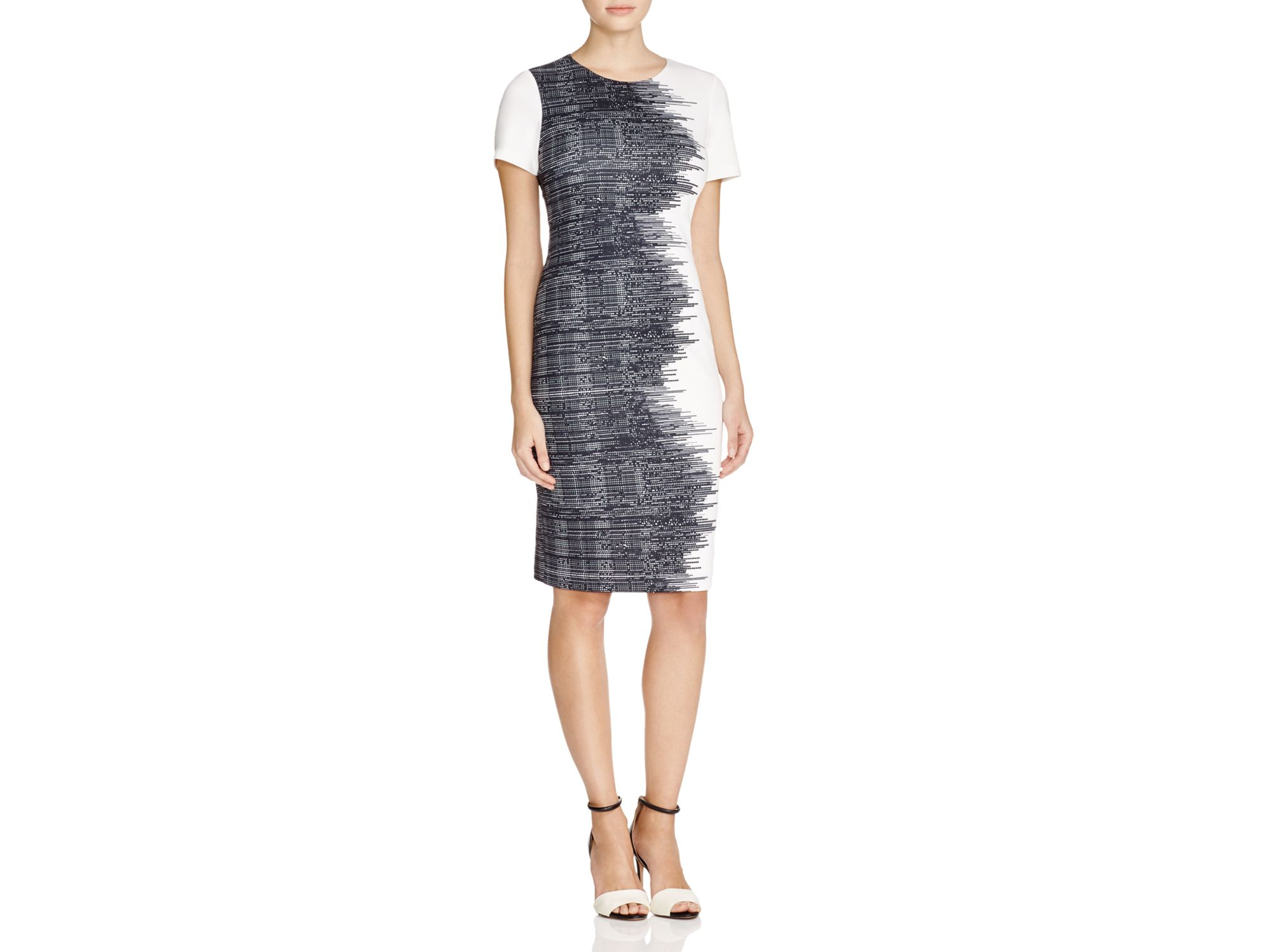 fcd91c5818f Lyst - Calvin Klein Abstract Print Sheath Dress - 100 ...