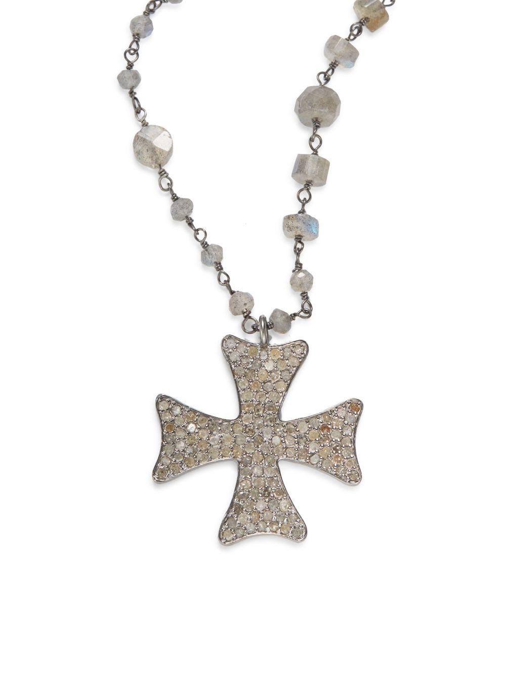 Lyst bavna diamond labradorite sterling silver maltese cross gallery aloadofball Images