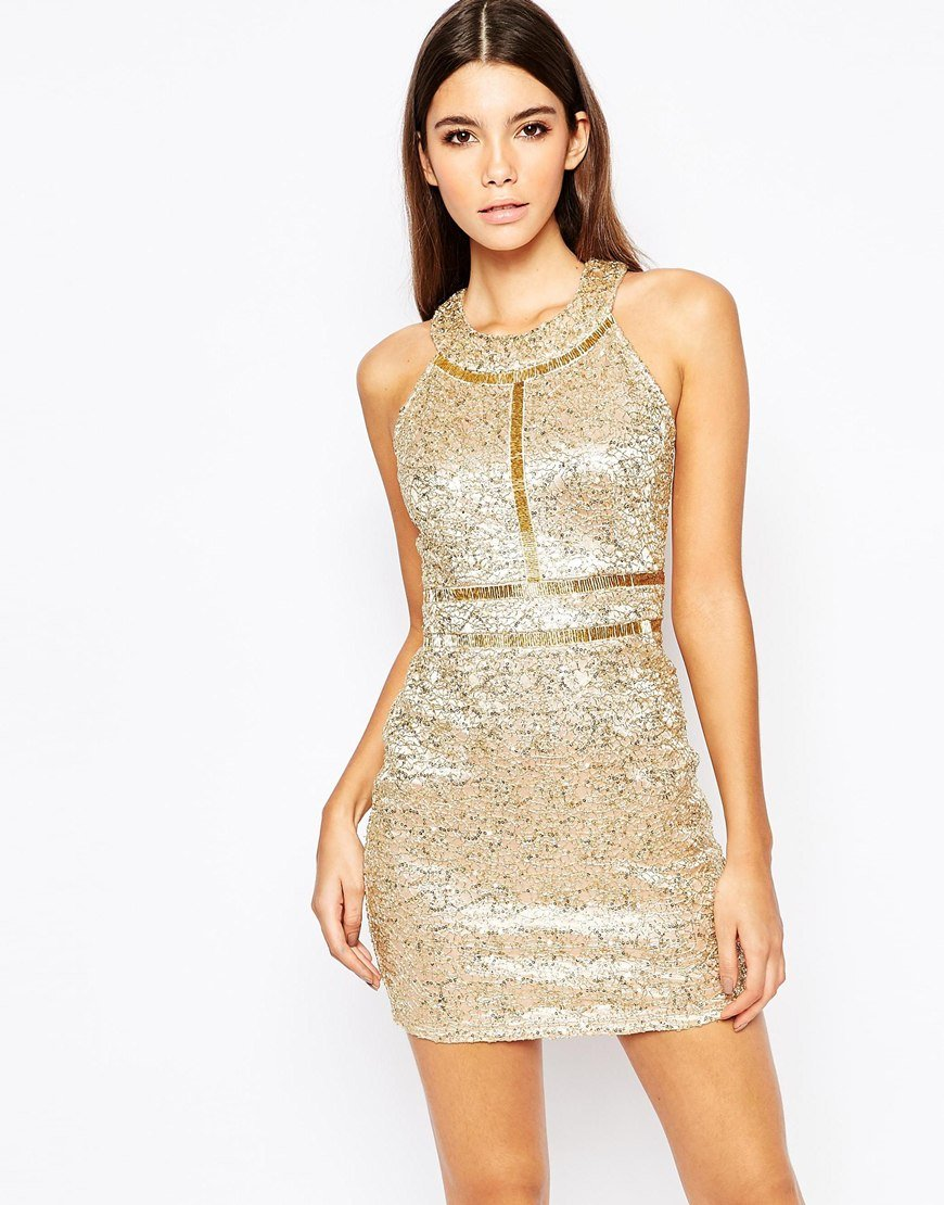 Lyst Wow Couture Premium Metallic Sequin Mini Dress With Gold Beaded Details In Metallic