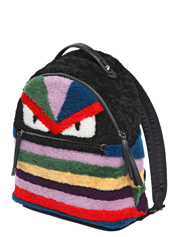 Fendi Shearling Backpack Multicolor In Multicolor Multi