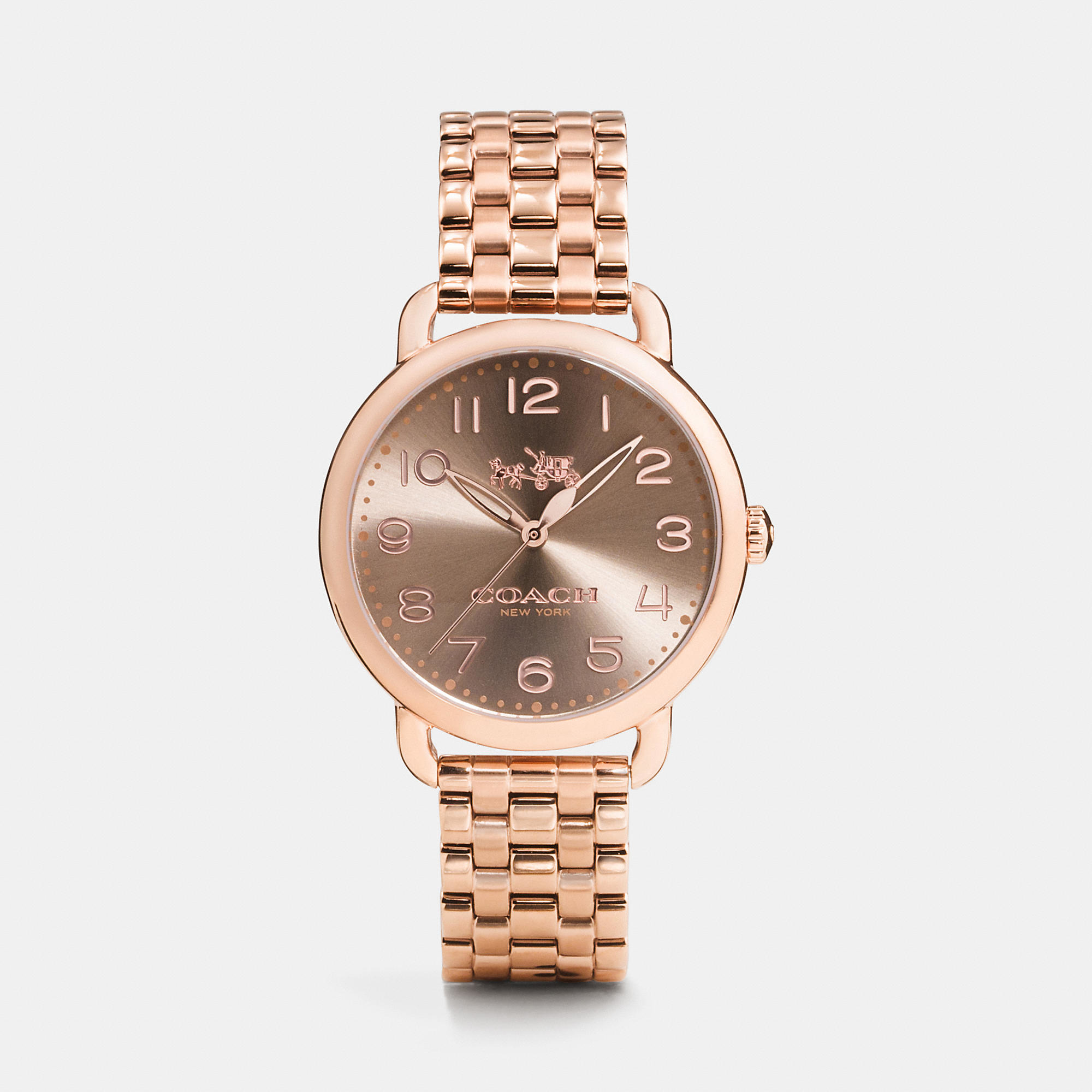 Lyst - Coach Delancey 36mm Rose Gold Plated Bracelet Watch ...