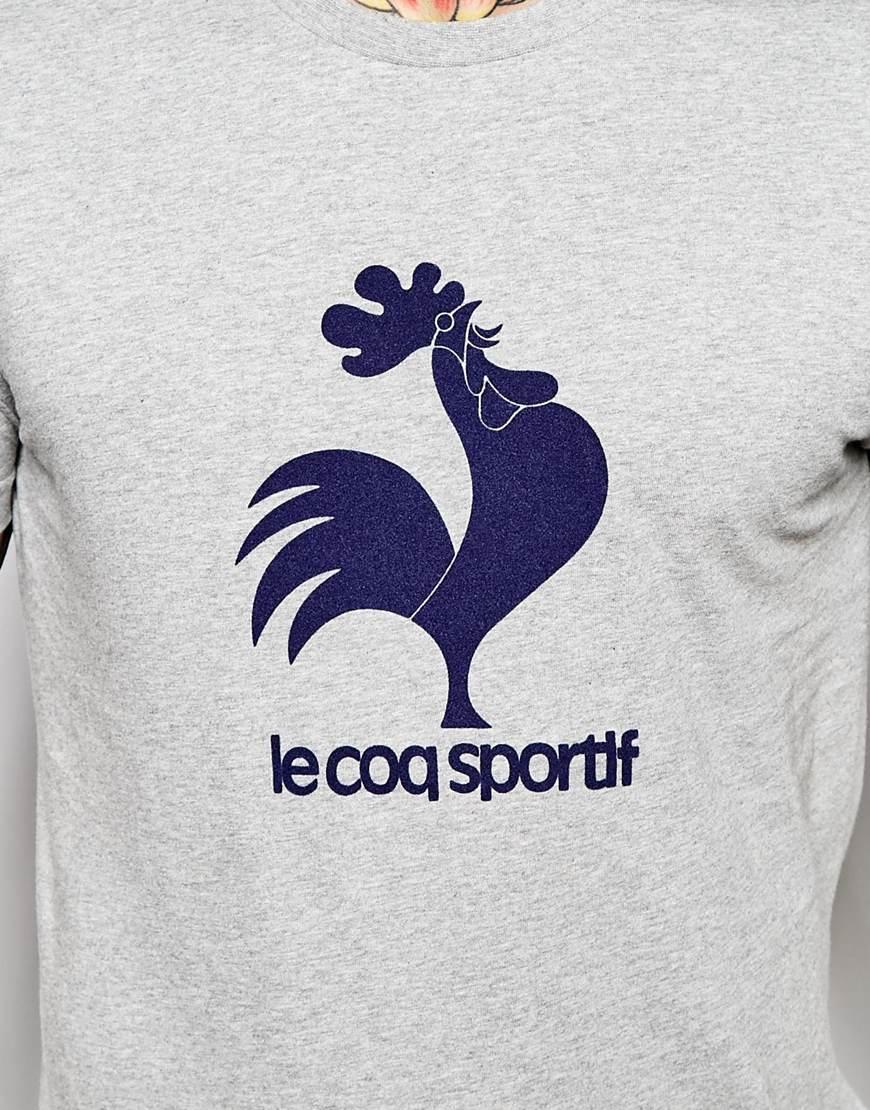 lyst le coq sportif logo t shirt in gray for men
