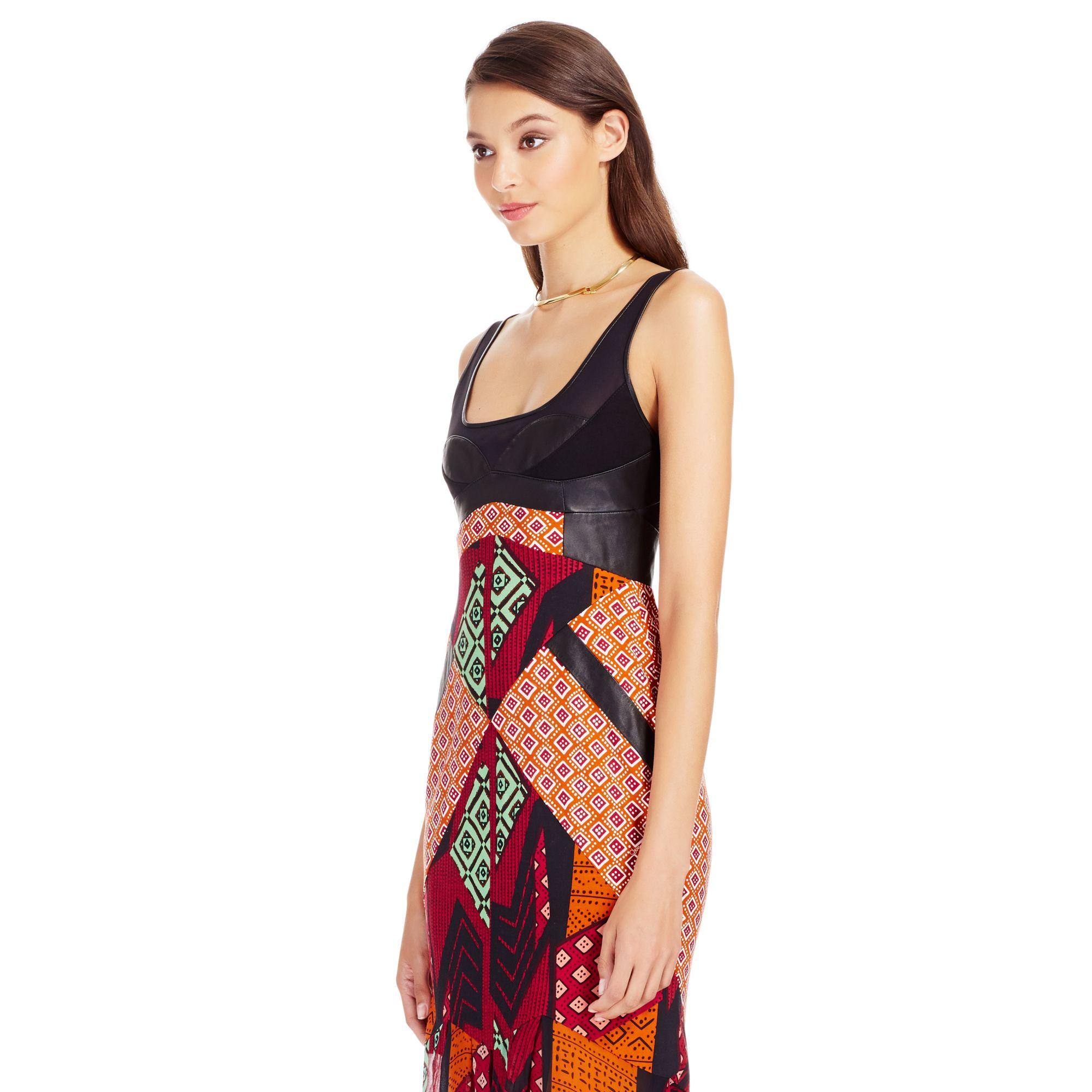 Lyst - Diane Von Furstenberg Dvf Serena Leather Bodice Silk Gown