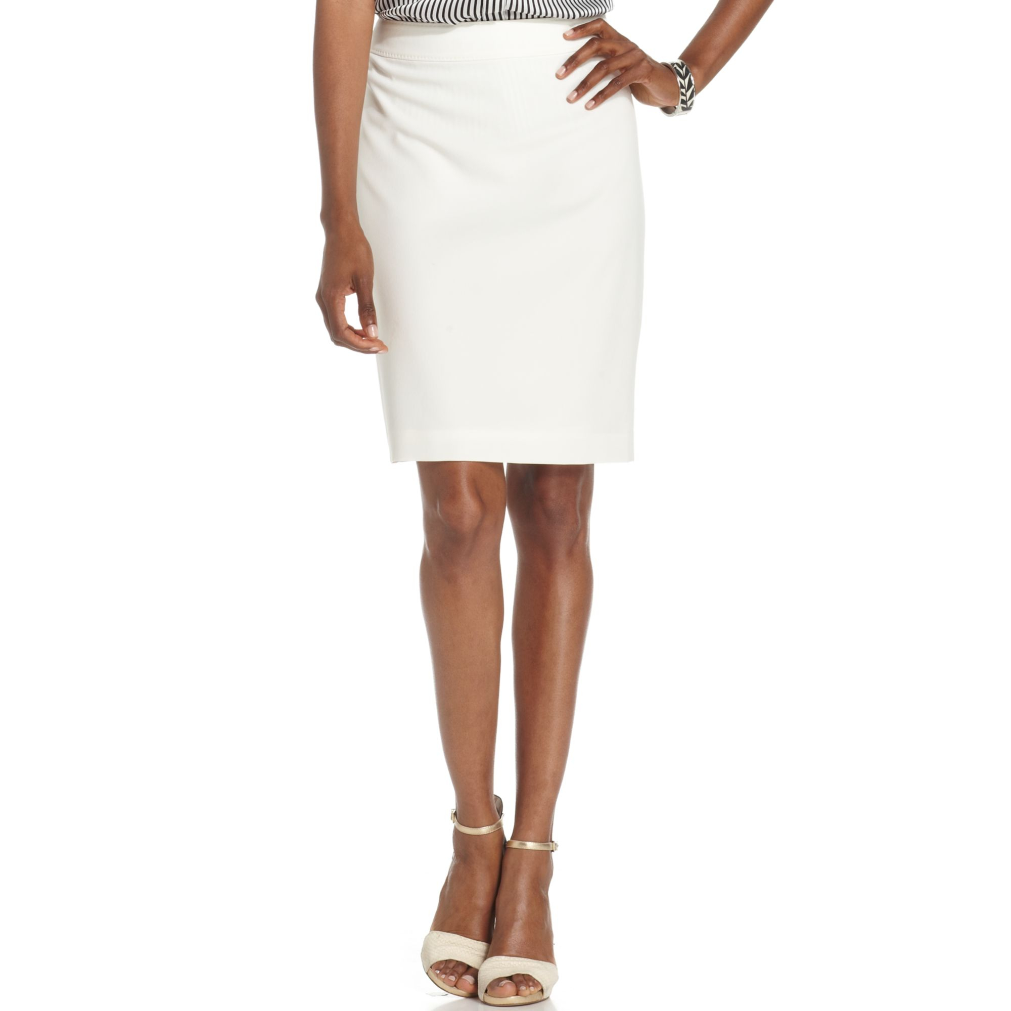 White Stretch Pencil Skirt - Skirts