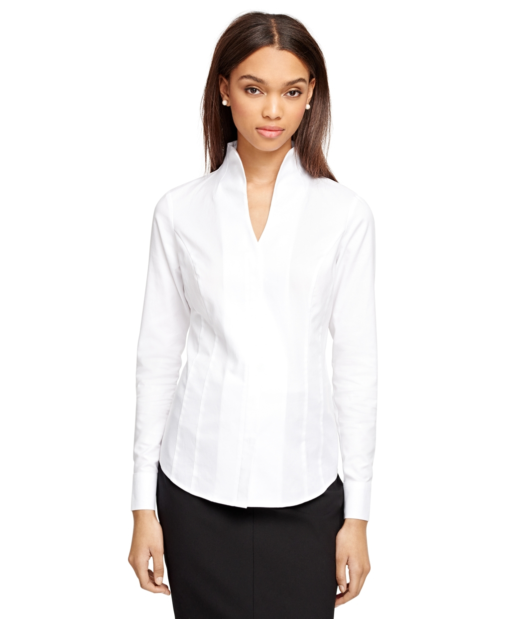 Brooks brothers Collarless Dress Shirt in White | Lyst