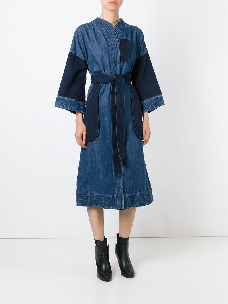 tsumori chisato denim belted shirt dress in blue lyst