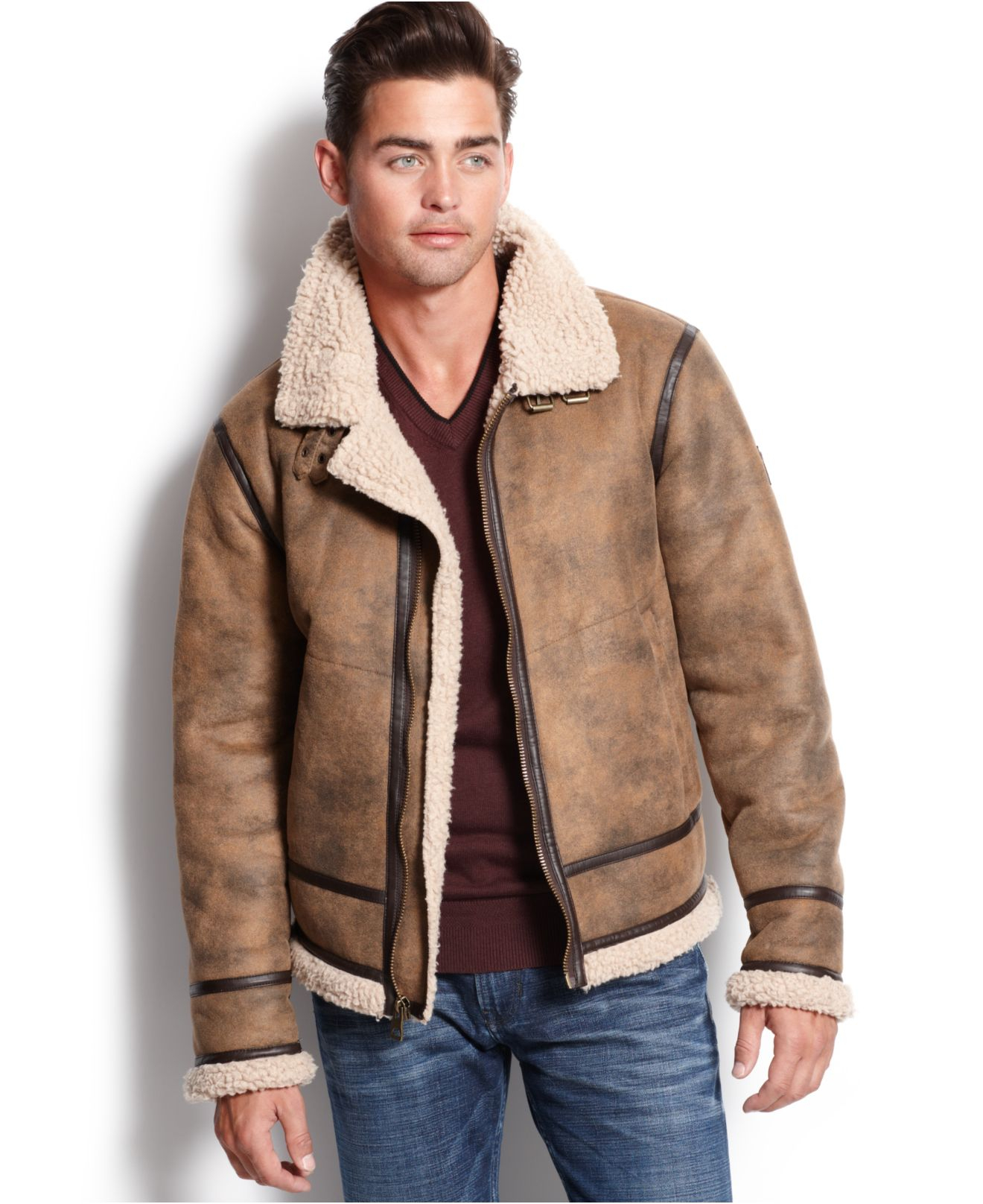 Guess Railroad Faux Shearling Jacket In Brown Lyst