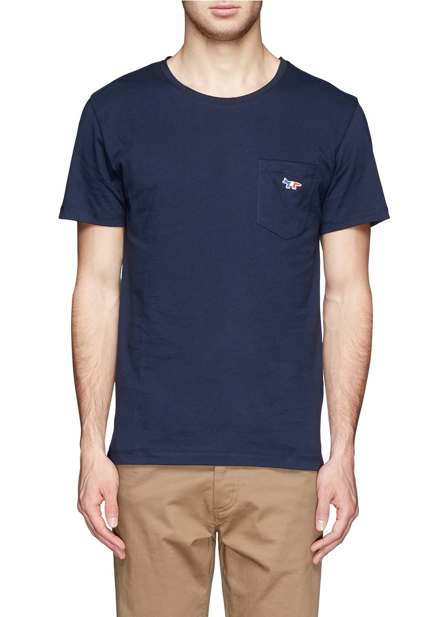 Unique Lyst - Maison Kitsuné Logo Chest Pocket T-shirt in Blue for Men SN64