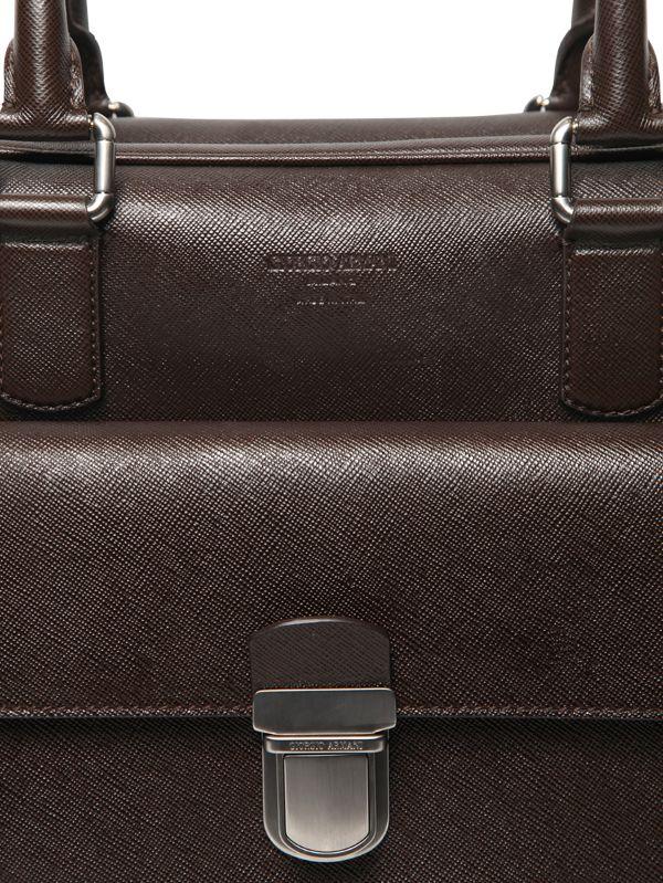 17e038cc94 Lyst - Giorgio Armani Saffiano Embossed Leather Briefcase in Brown for Men