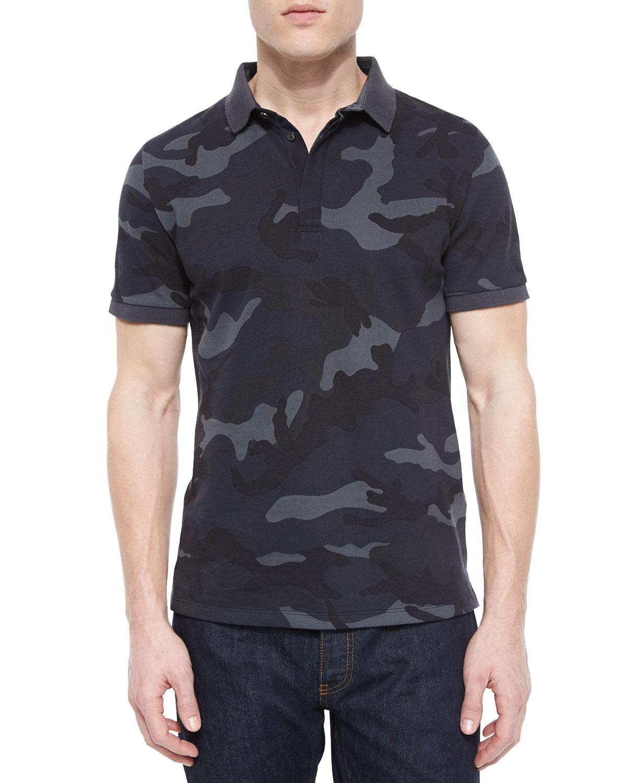 Lyst valentino camo print pique polo shirt in blue for men for Camo polo shirts for men