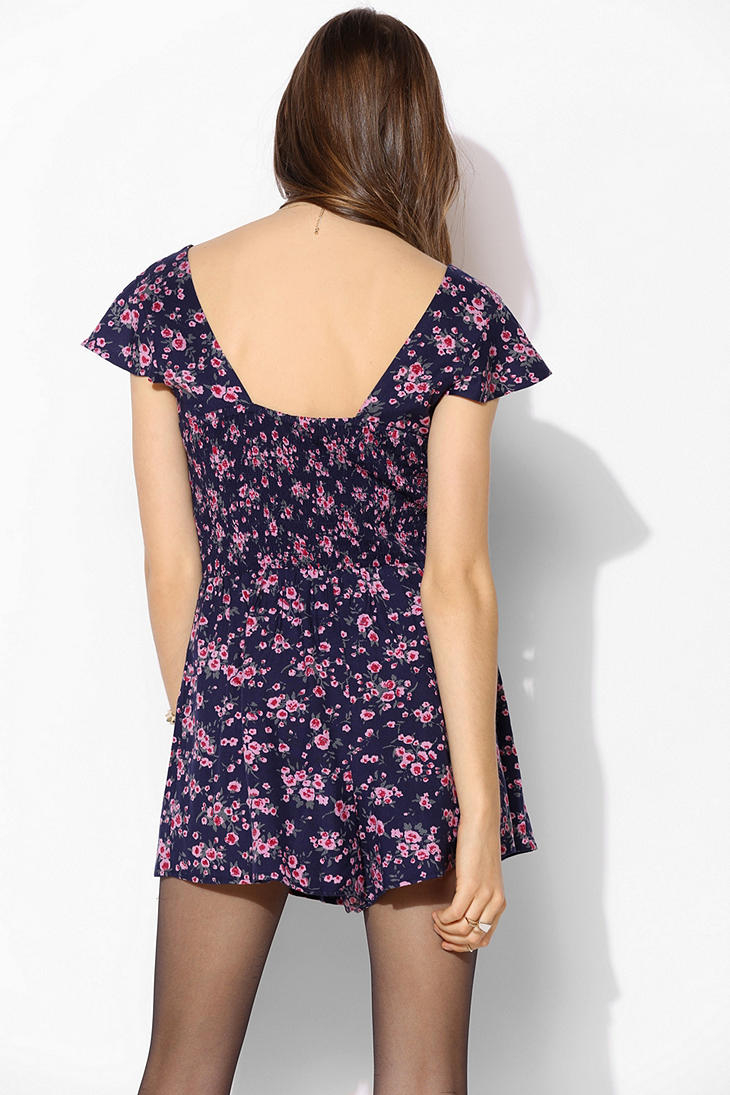 Urban outfitters Kimchi Blue Smocked back Romper in Blue ...