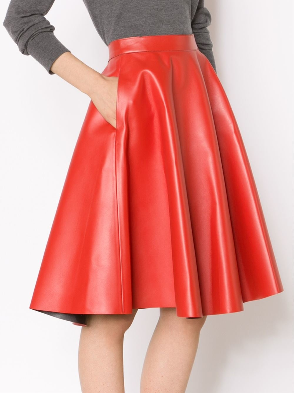 Faux Red Leather Skirt | Jill Dress