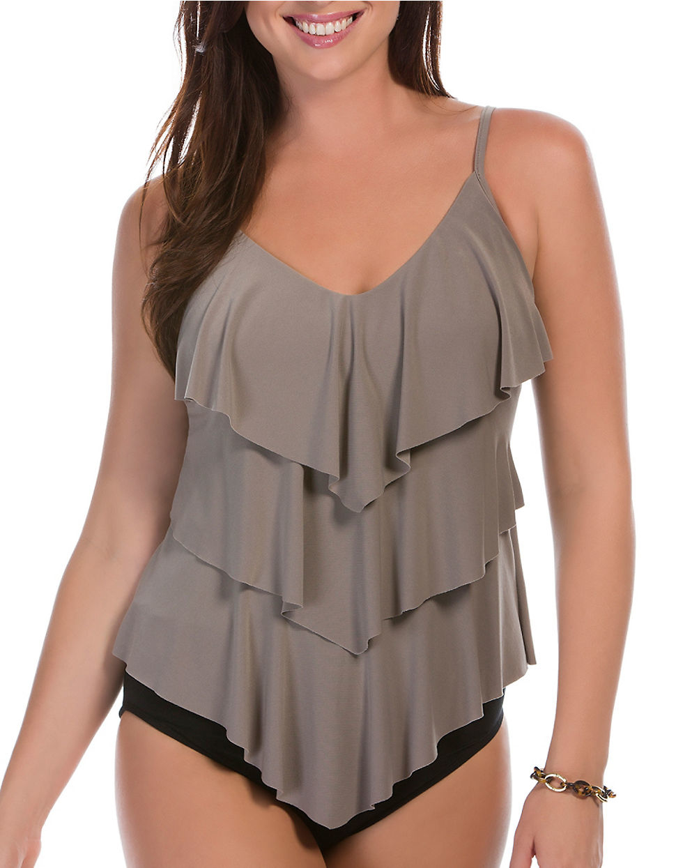 2454a1f8eb6c7 Miraclesuit Solids Rita Tiered Tankini Top in Gray - Lyst