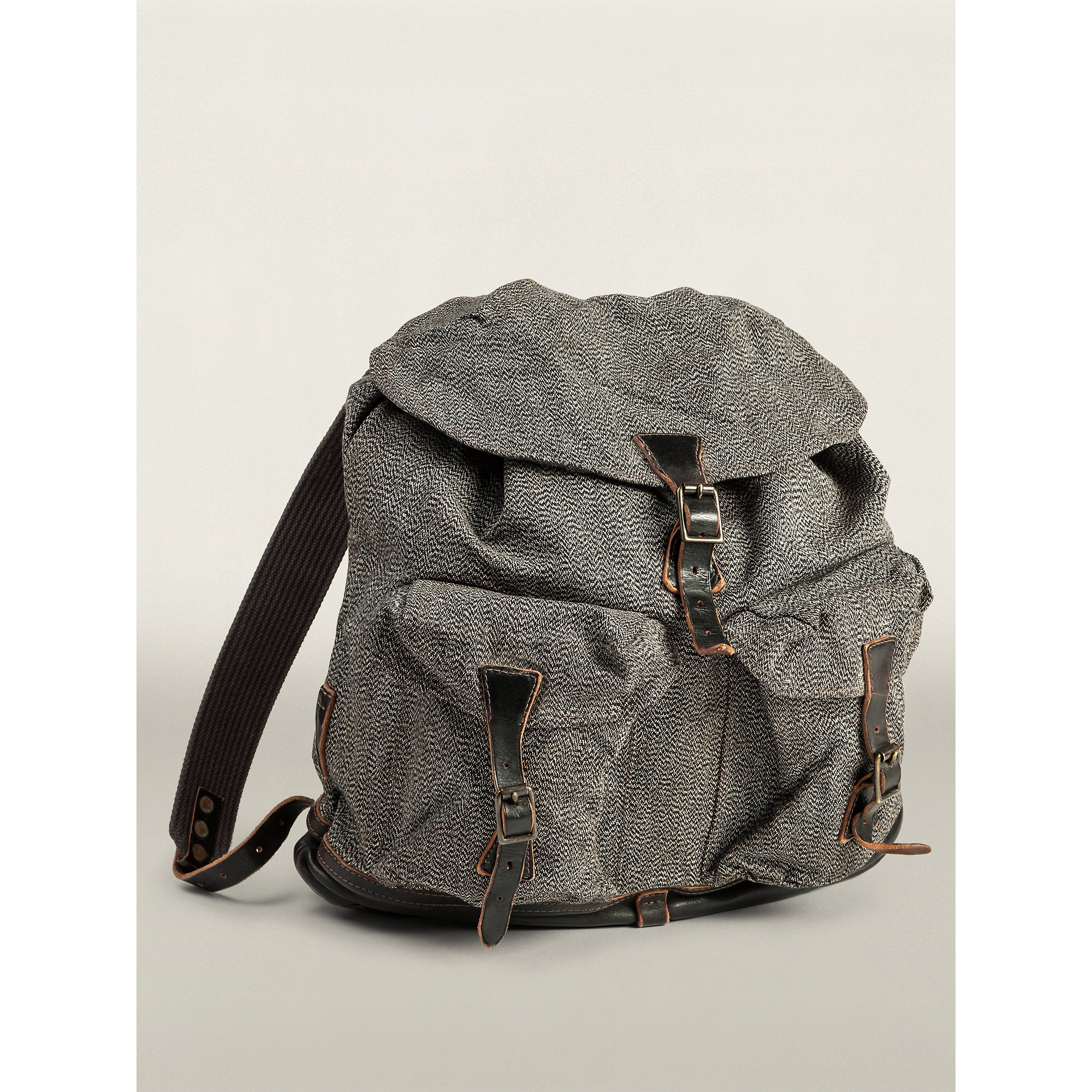 Rrl Canvas Canyon Backpack In Black Cream Brown Black