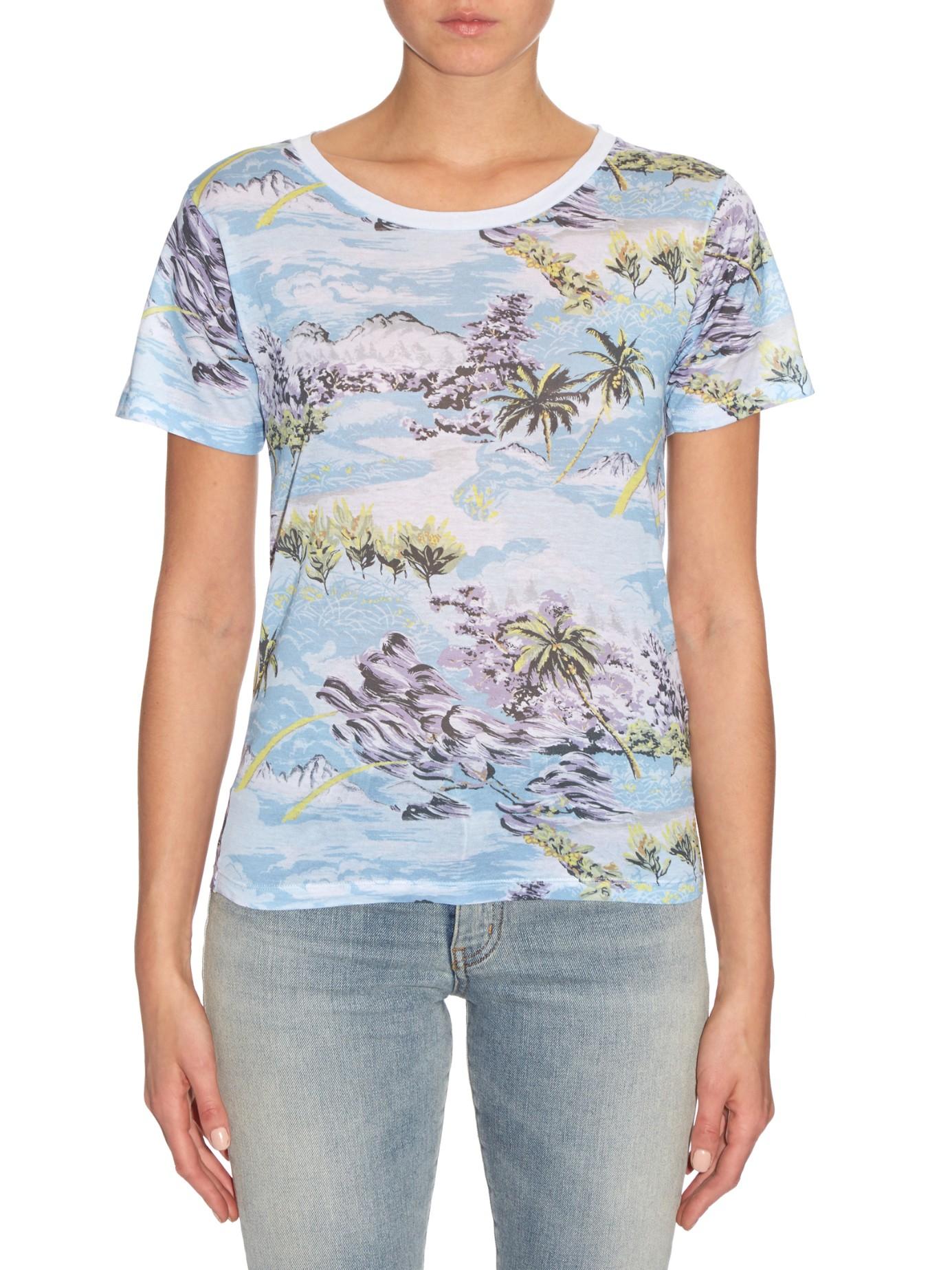 Saint laurent hawaiian print cotton jersey t shirt in blue for T shirt printing hawaii