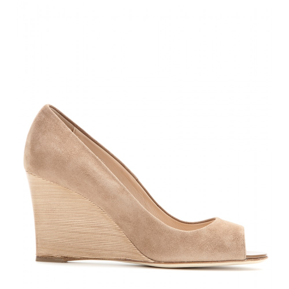 a6bf2fe6e2 Tod's Suede Peeptoe Wedges in Natural - Lyst
