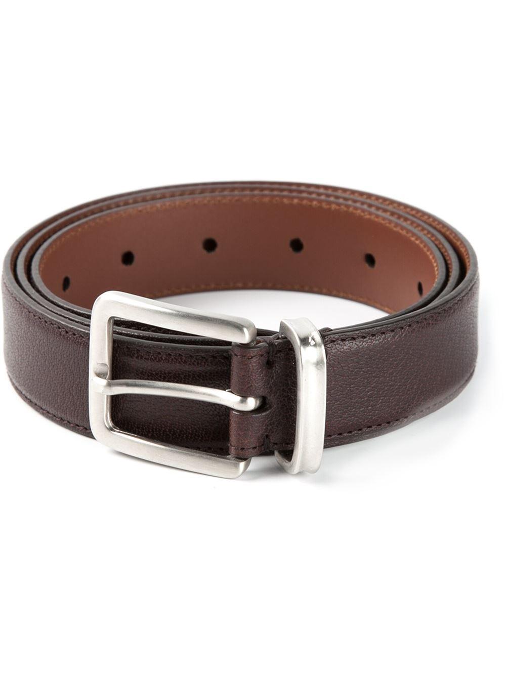 brunello cucinelli classic buckle belt in brown for lyst