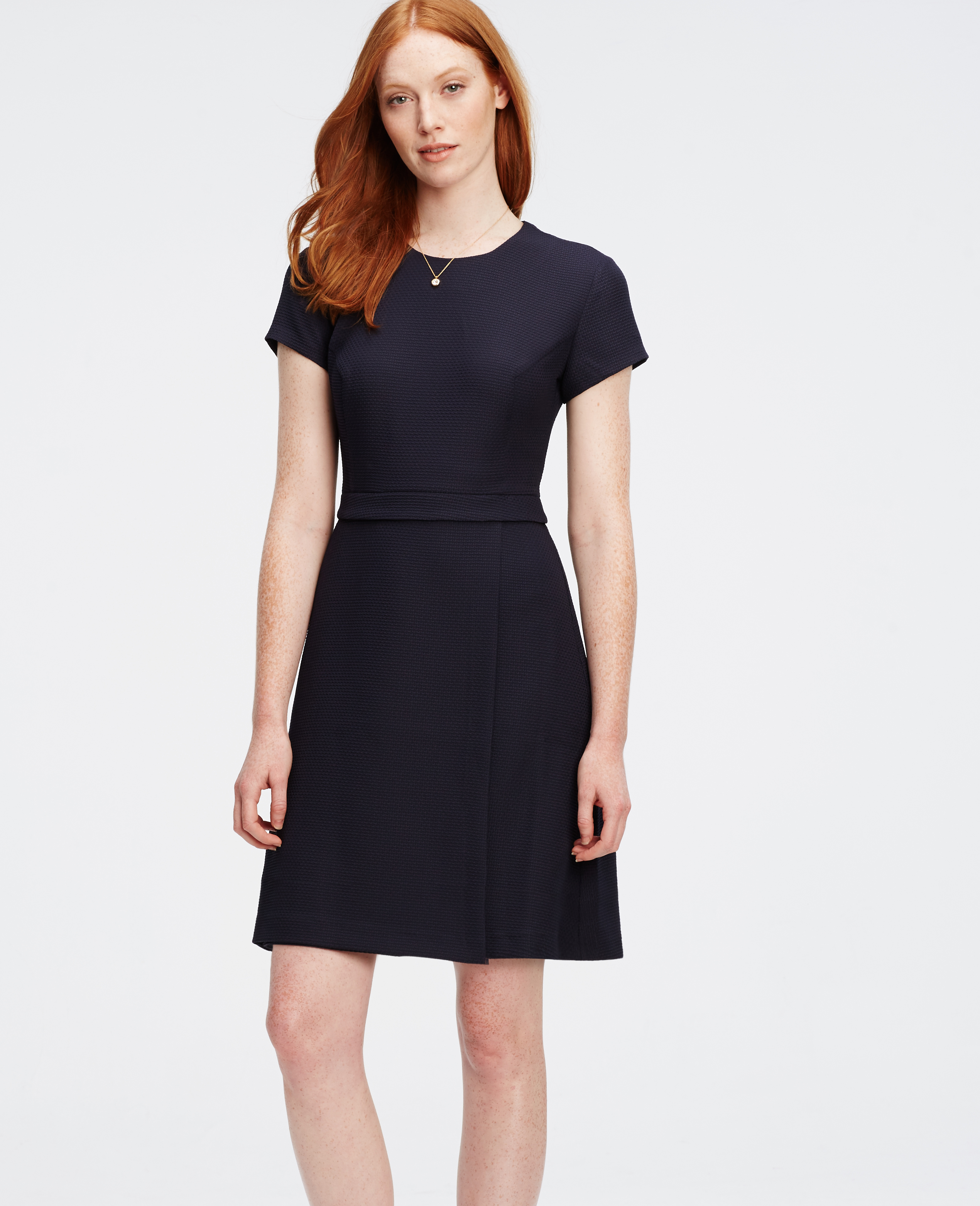 Ann Taylor Wrap Flare Dress In Blue Lyst
