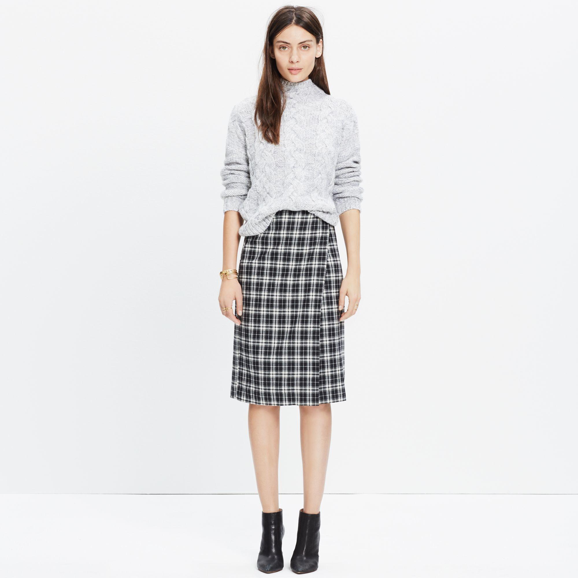 madewell plaid wrap midi skirt in black lyst