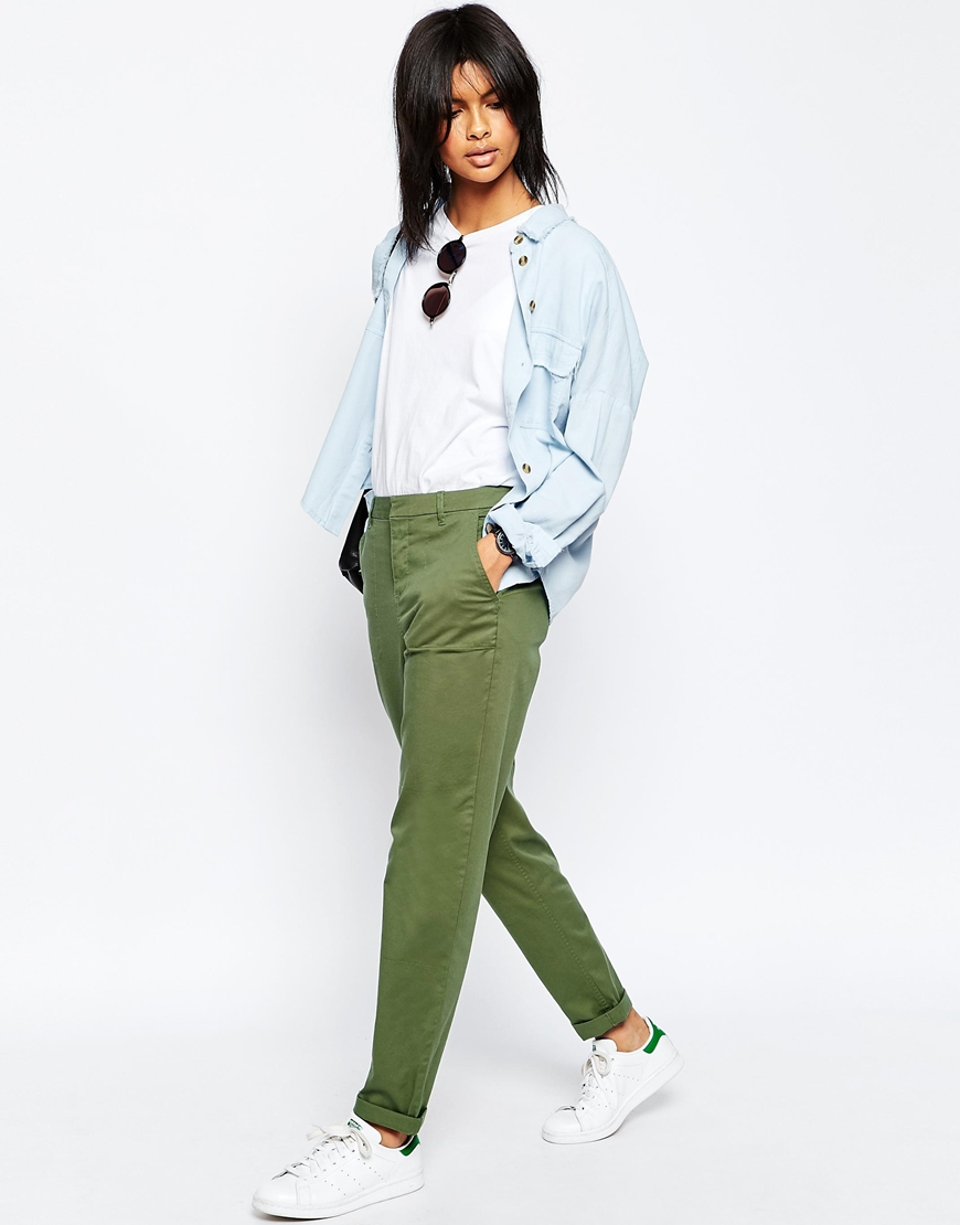 Asos Casual Chino Pants With Roll Hem - Green in Green | Lyst