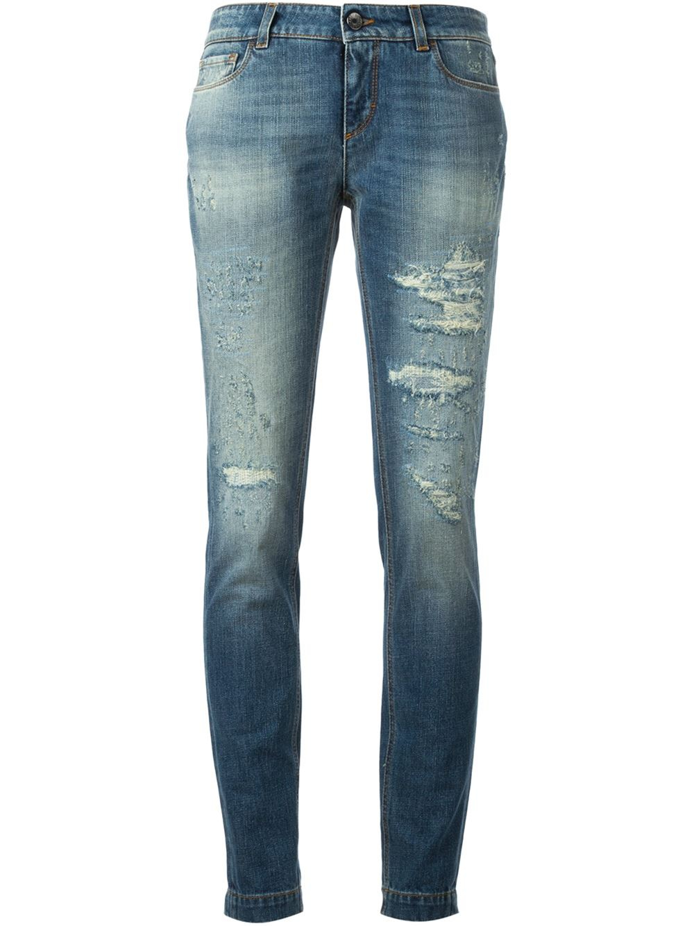 dolce gabbana ripped skinny jeans in blue lyst. Black Bedroom Furniture Sets. Home Design Ideas
