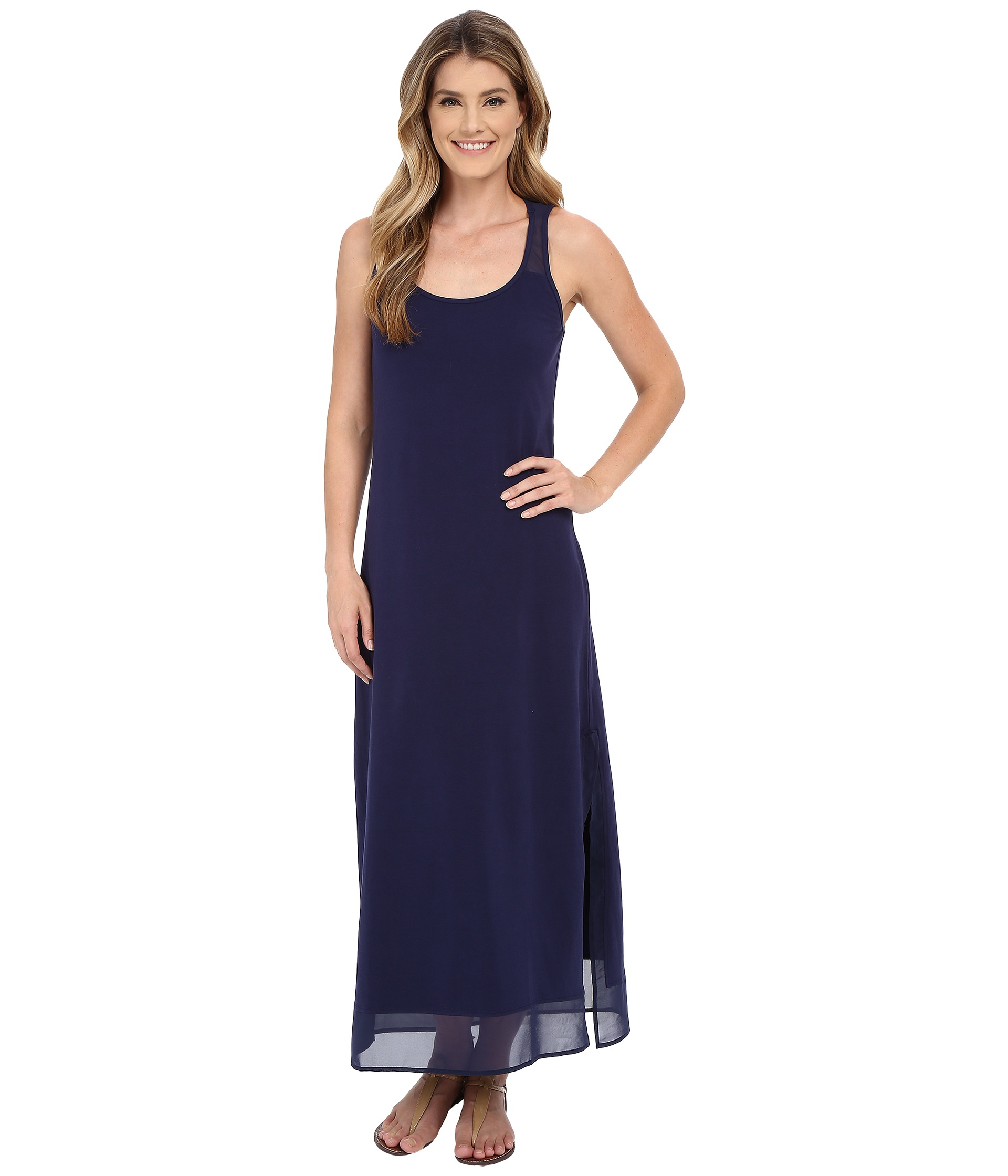 2133ba1113 Tommy Bahama Knit Chiffon Scoop Neck Long Dress Cover-up in Blue - Lyst