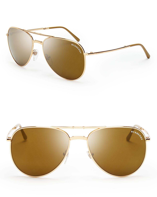 c7a405562cd5 Lyst - Burberry Folding Aviator Sunglasses in Metallic