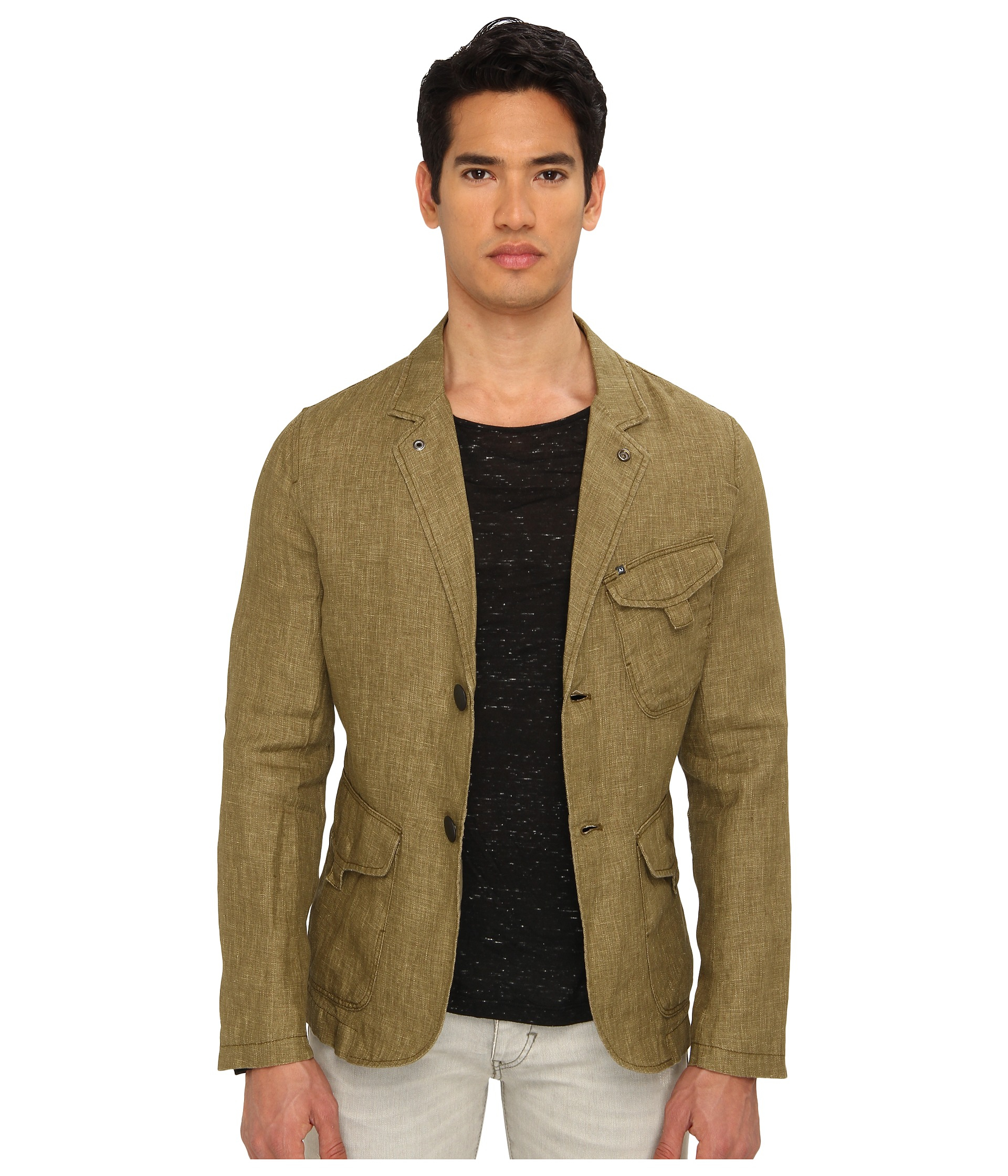 Armani jeans Linen Blazer in Natural for Men | Lyst