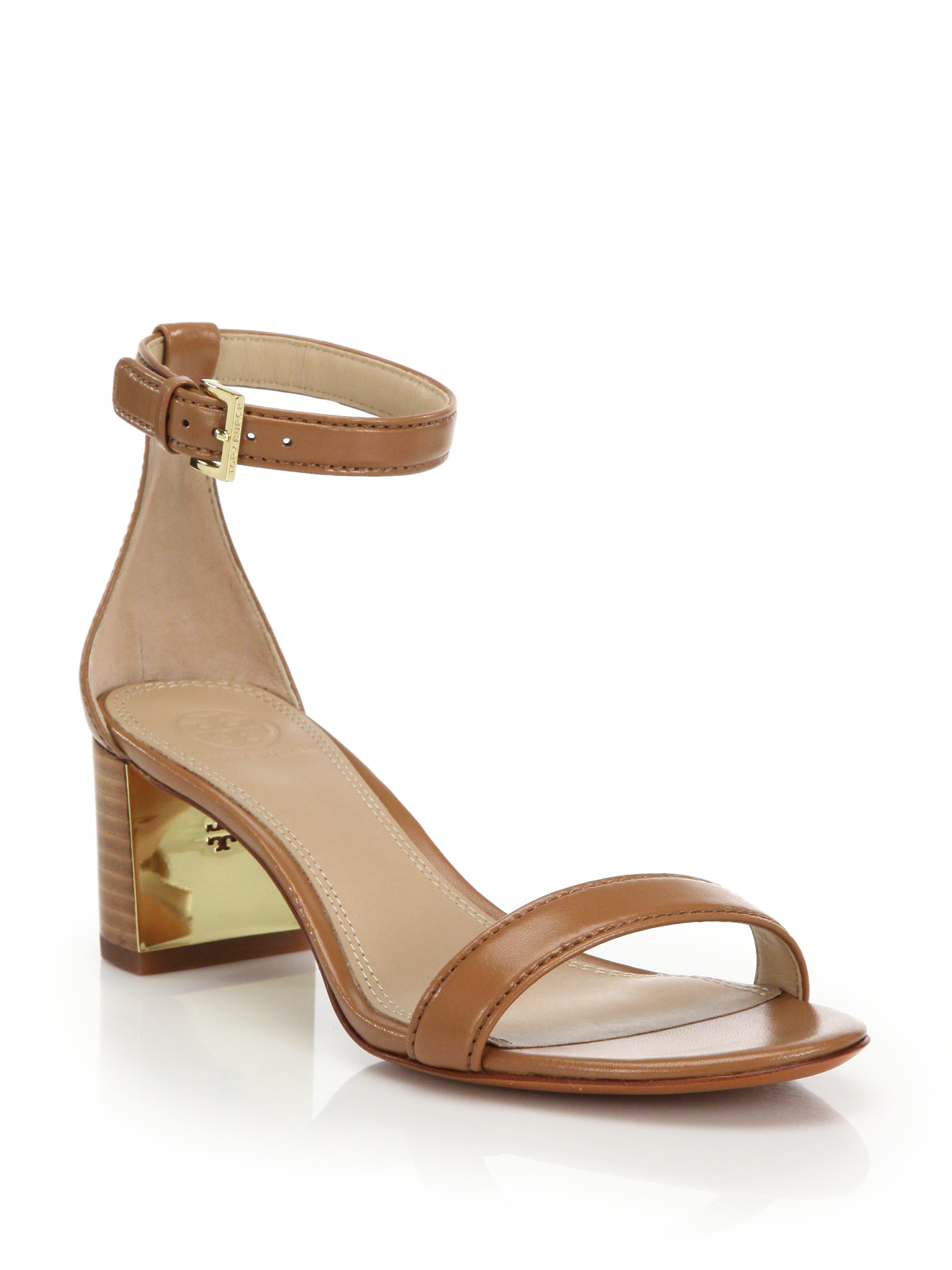 120ffb06706 Lyst - Tory Burch Cecile Leather Mid-heel Sandals in Brown