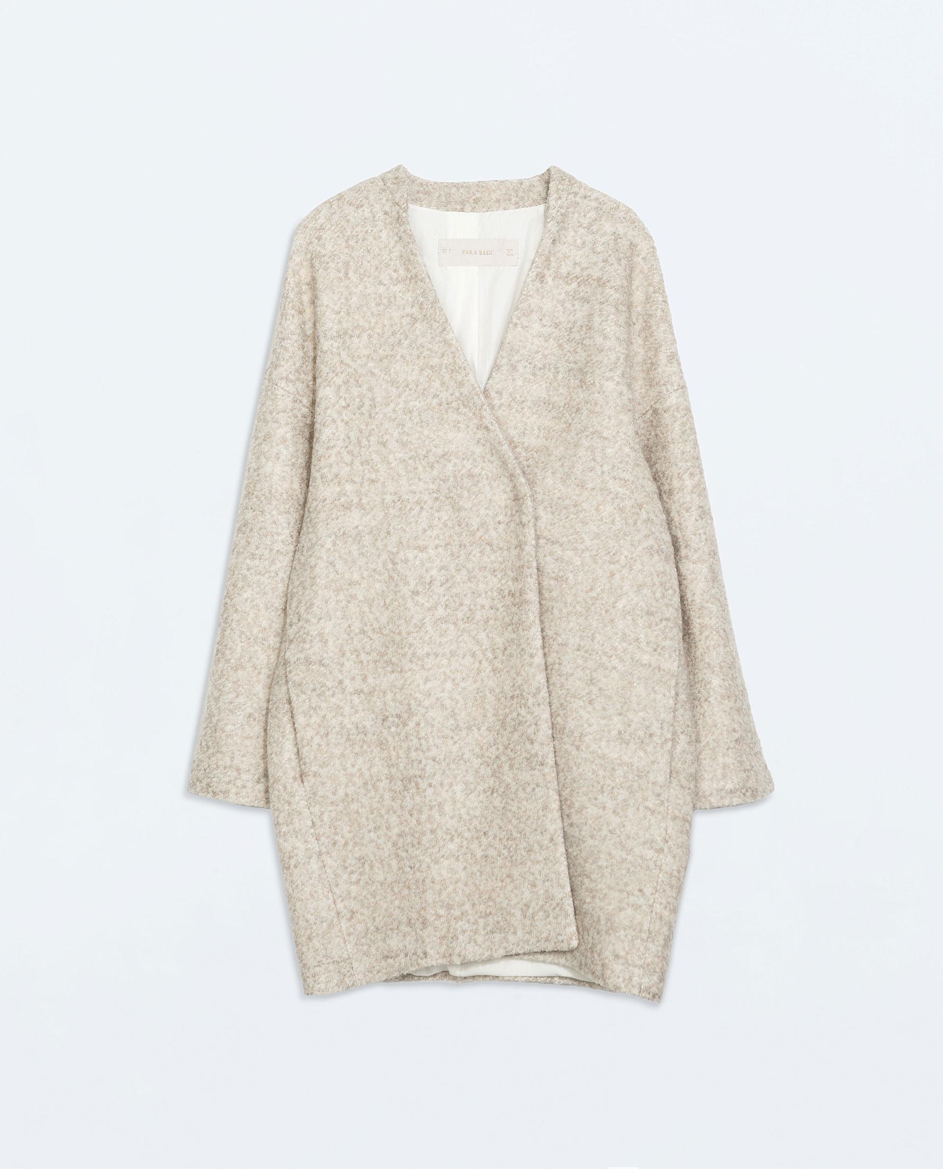 Zara Wool Coat in Natural | Lyst