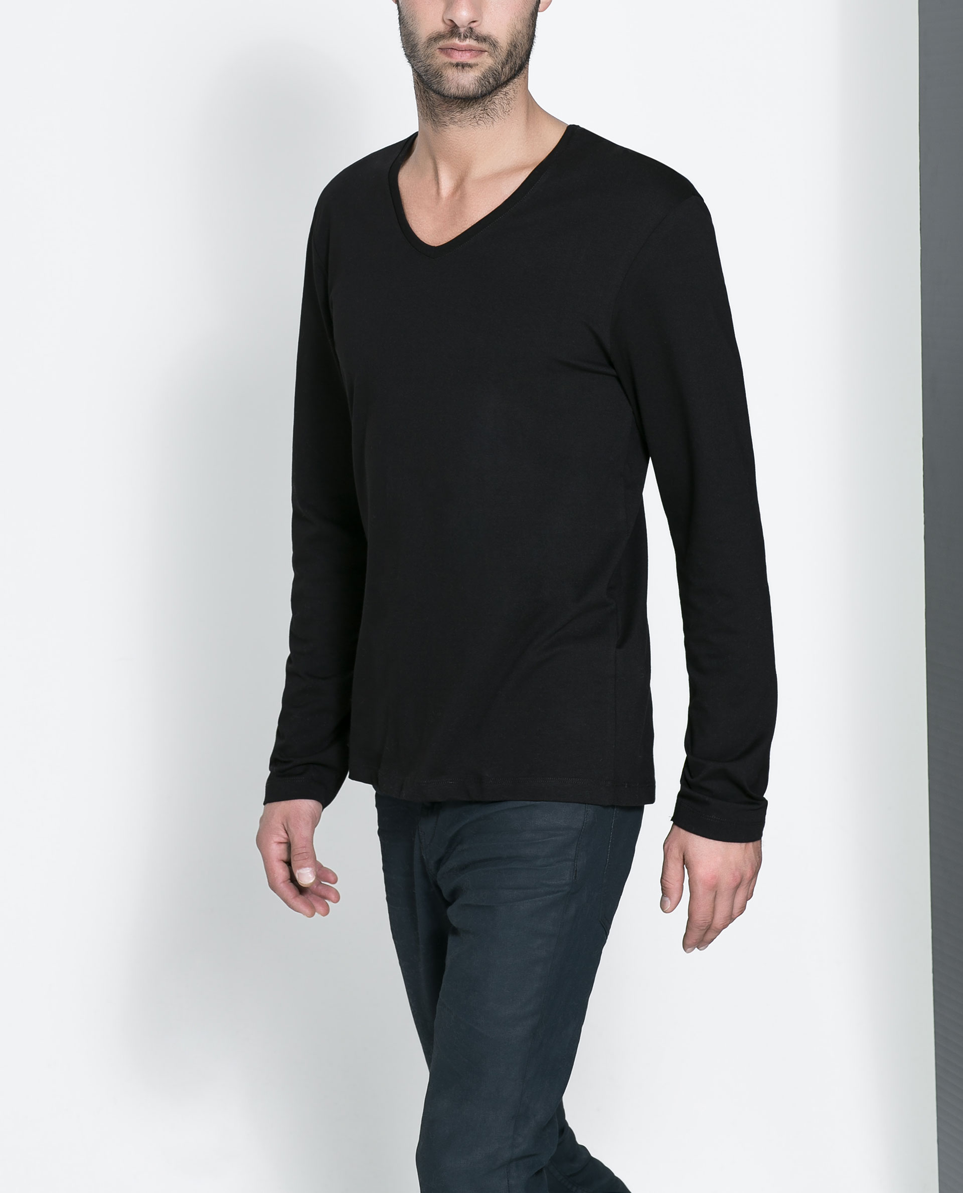 Zara Super Slim Fit T Shirt In Black For Men Lyst