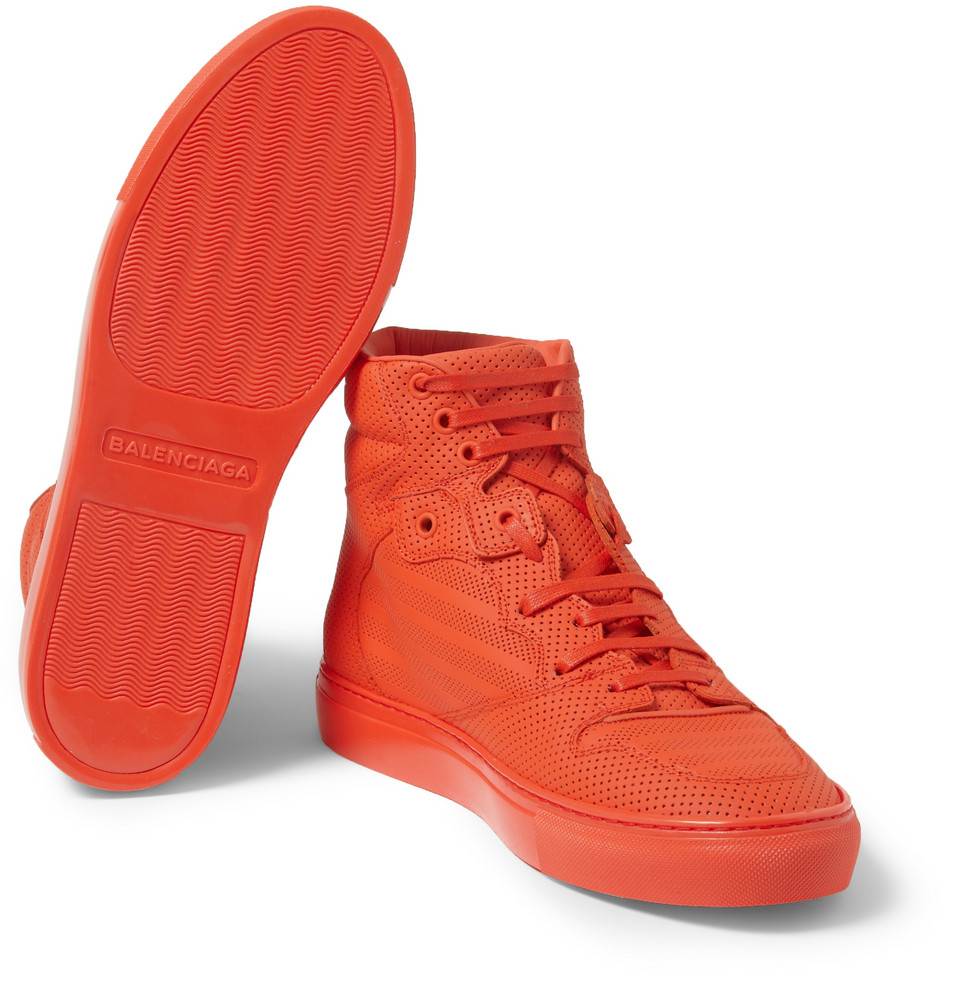 lyst balenciaga pleated hightop sneakers in red for men