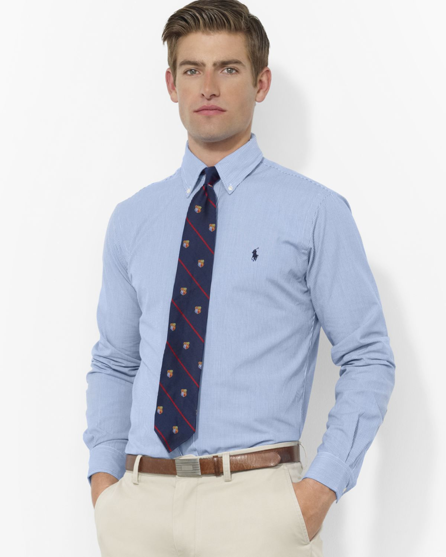 473fce138 Ralph Lauren Polo Blue   White Check Custom Oxford Shirt - Slim Fit ...
